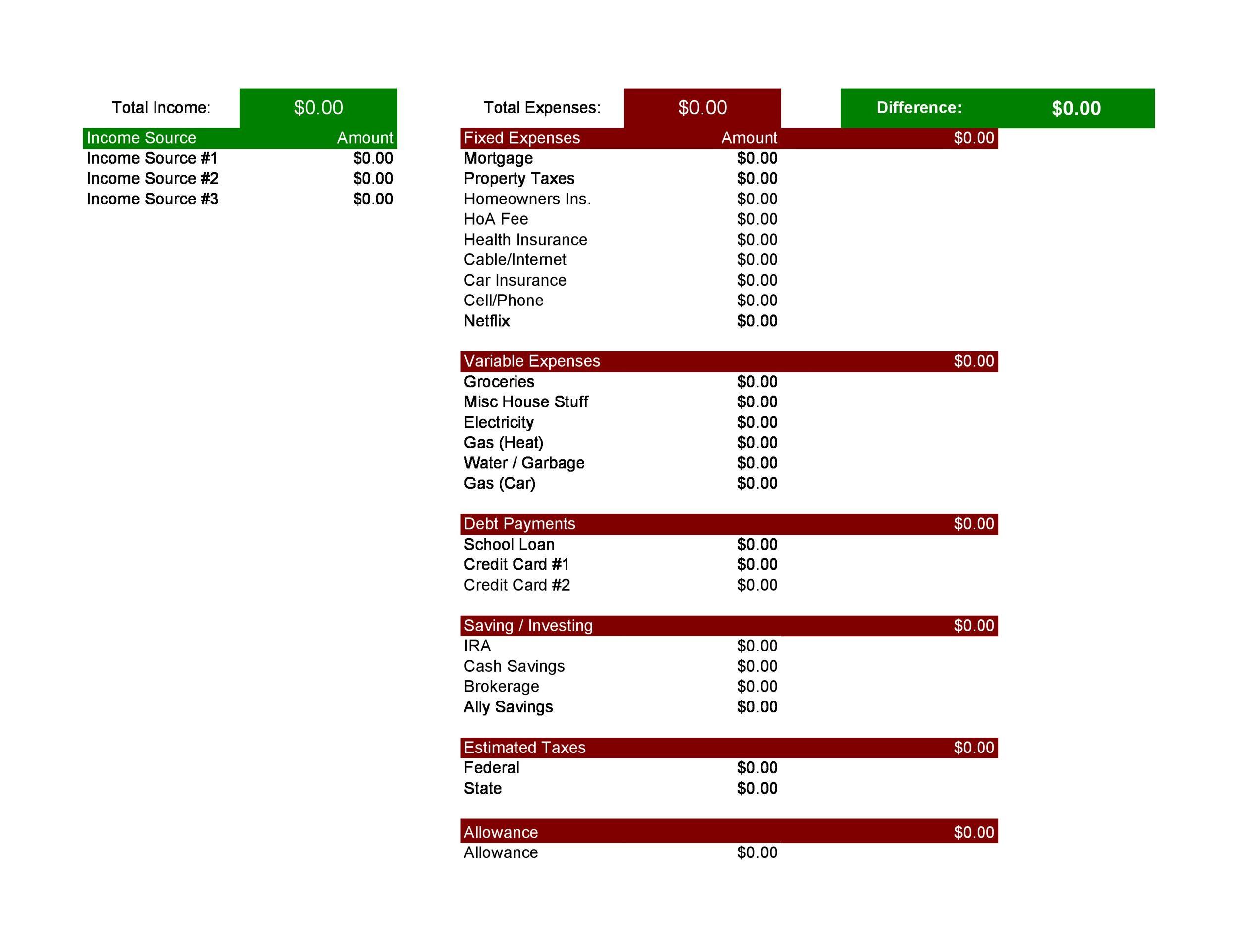 30 Budget Templates Amp Budget Worksheets Excel