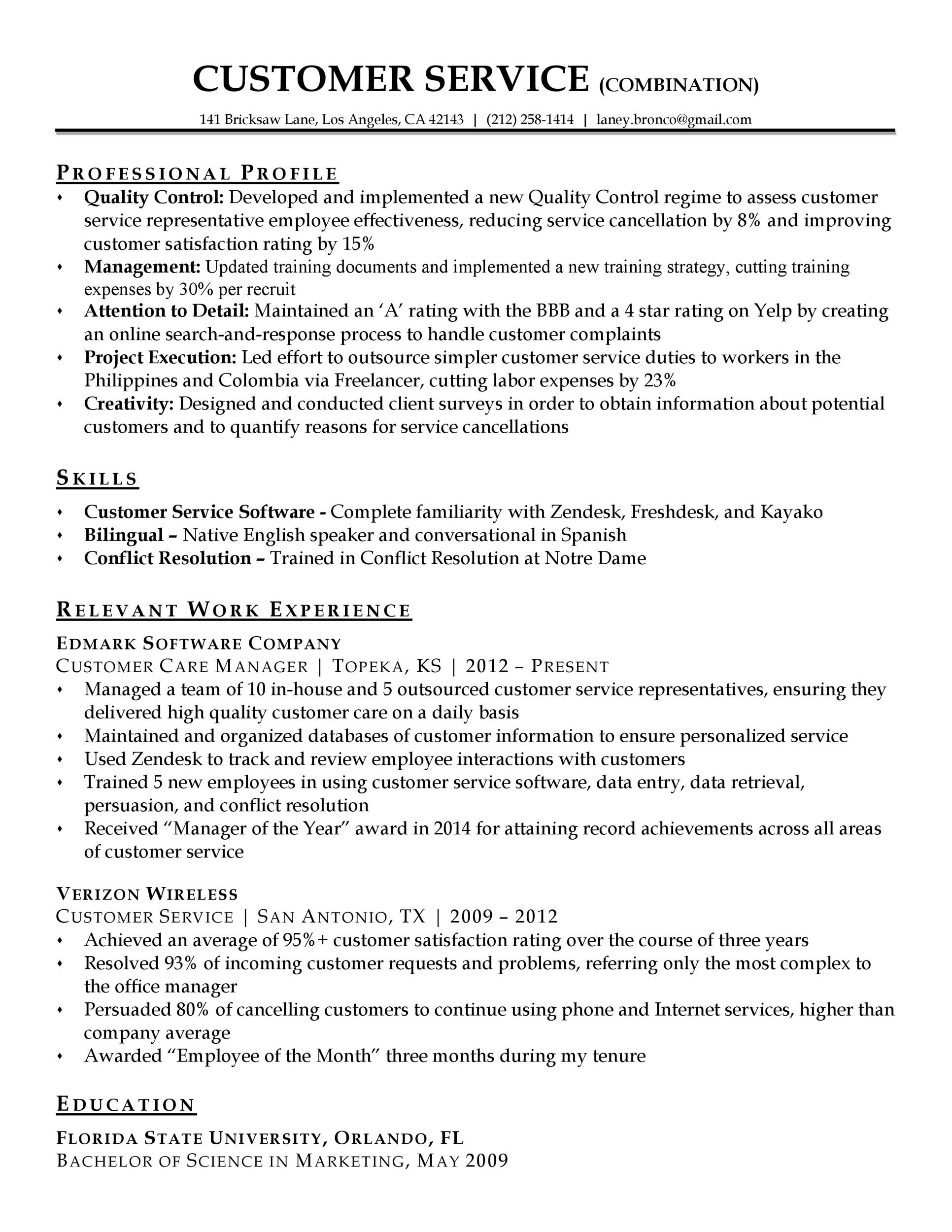 30 Customer Service Resume Examples ᐅ Template Lab