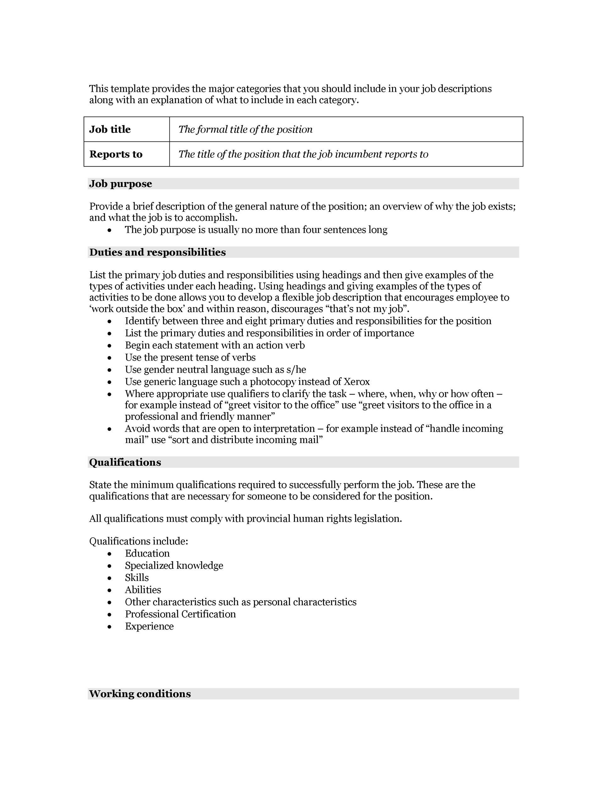 47 Job Description Templates  Examples  Template Lab