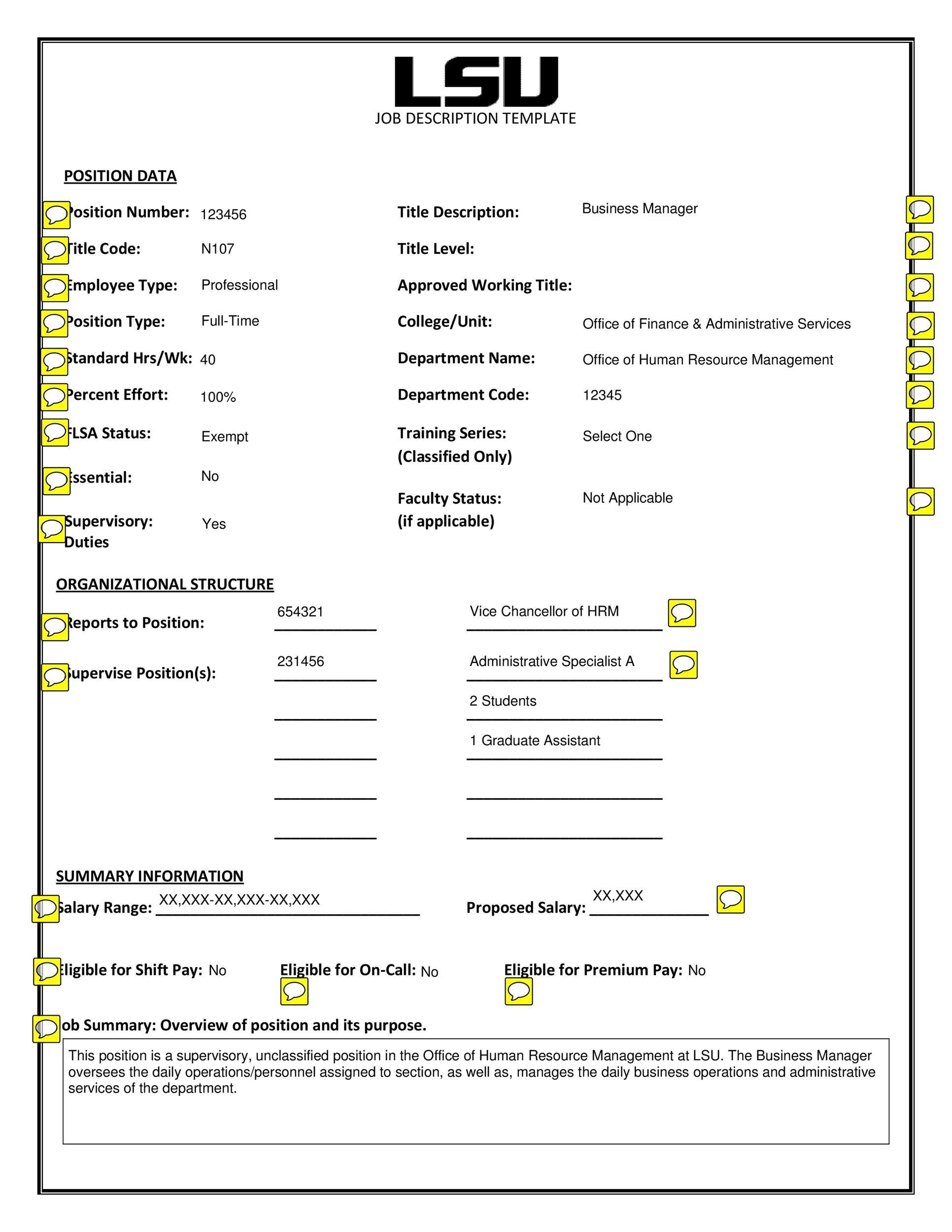 Free Job Description Template 14