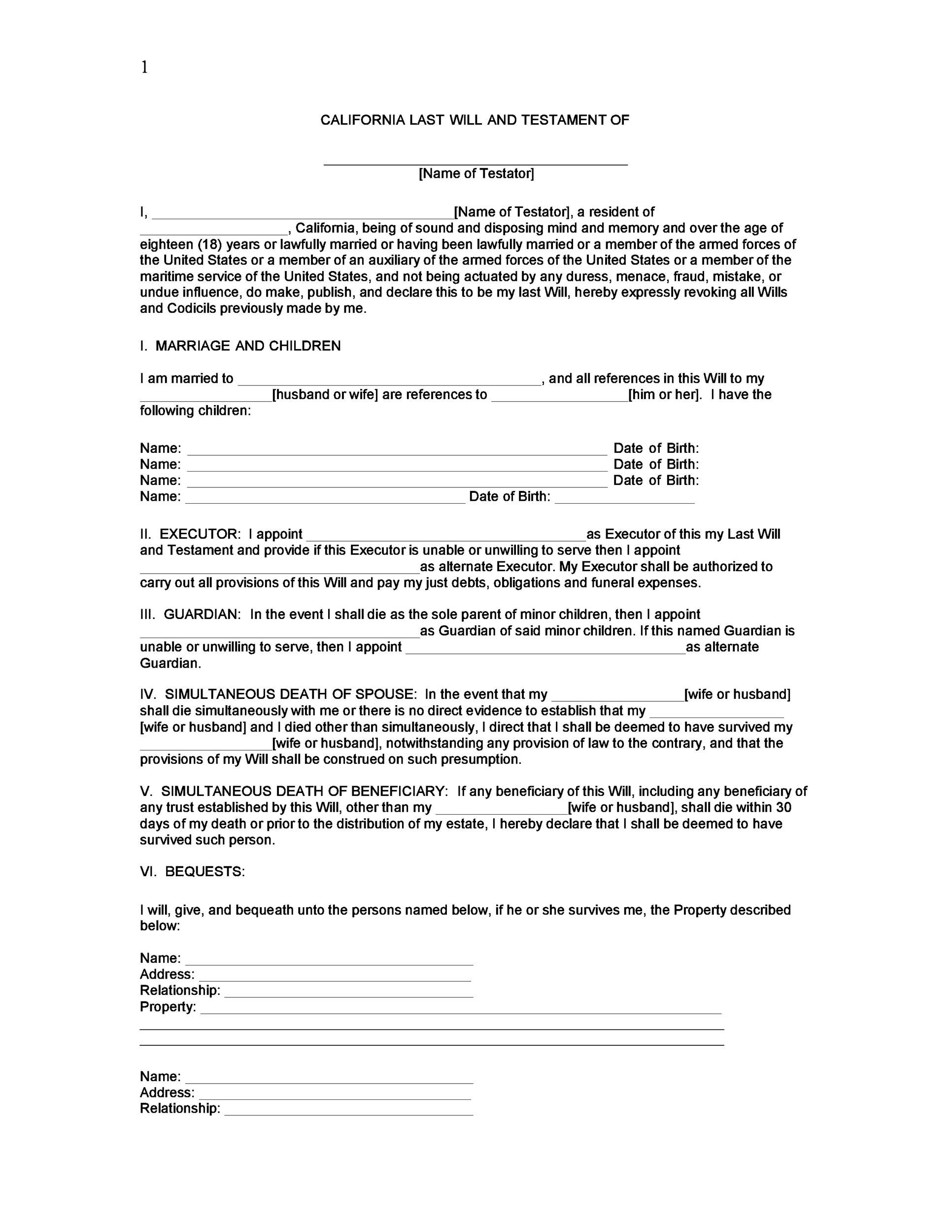 39 Last Will And Testament Forms Amp Templates Templatelab