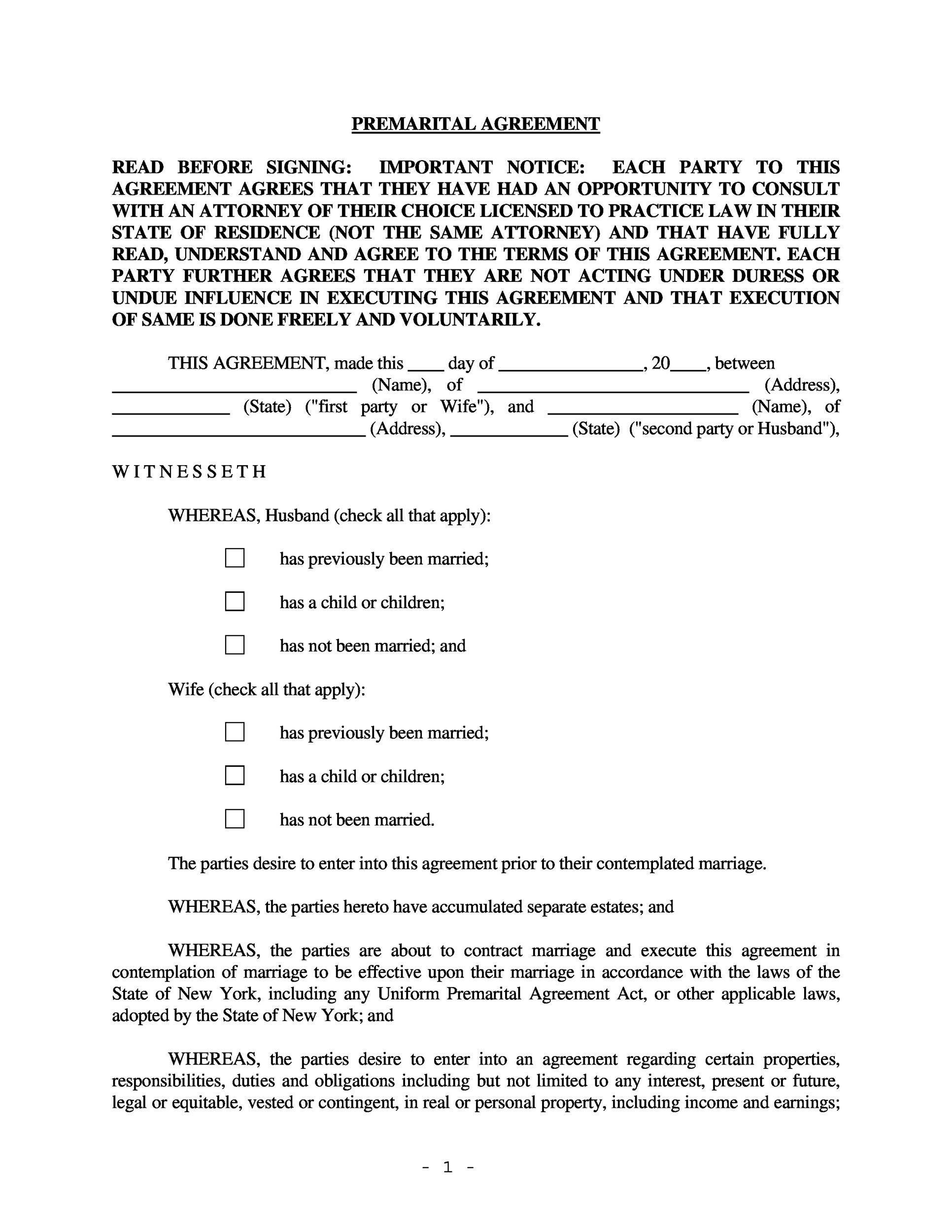 Free Prenuptial Agreement Template 08