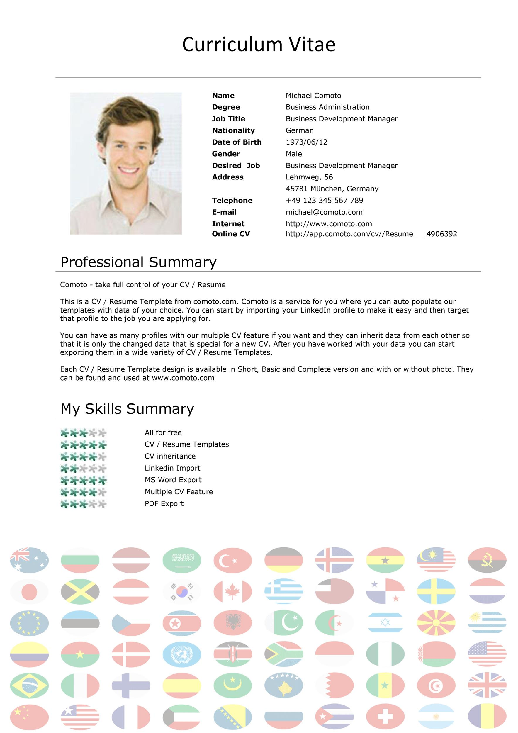 Standard Resume Format Template International Cv Format Template Villa Chems