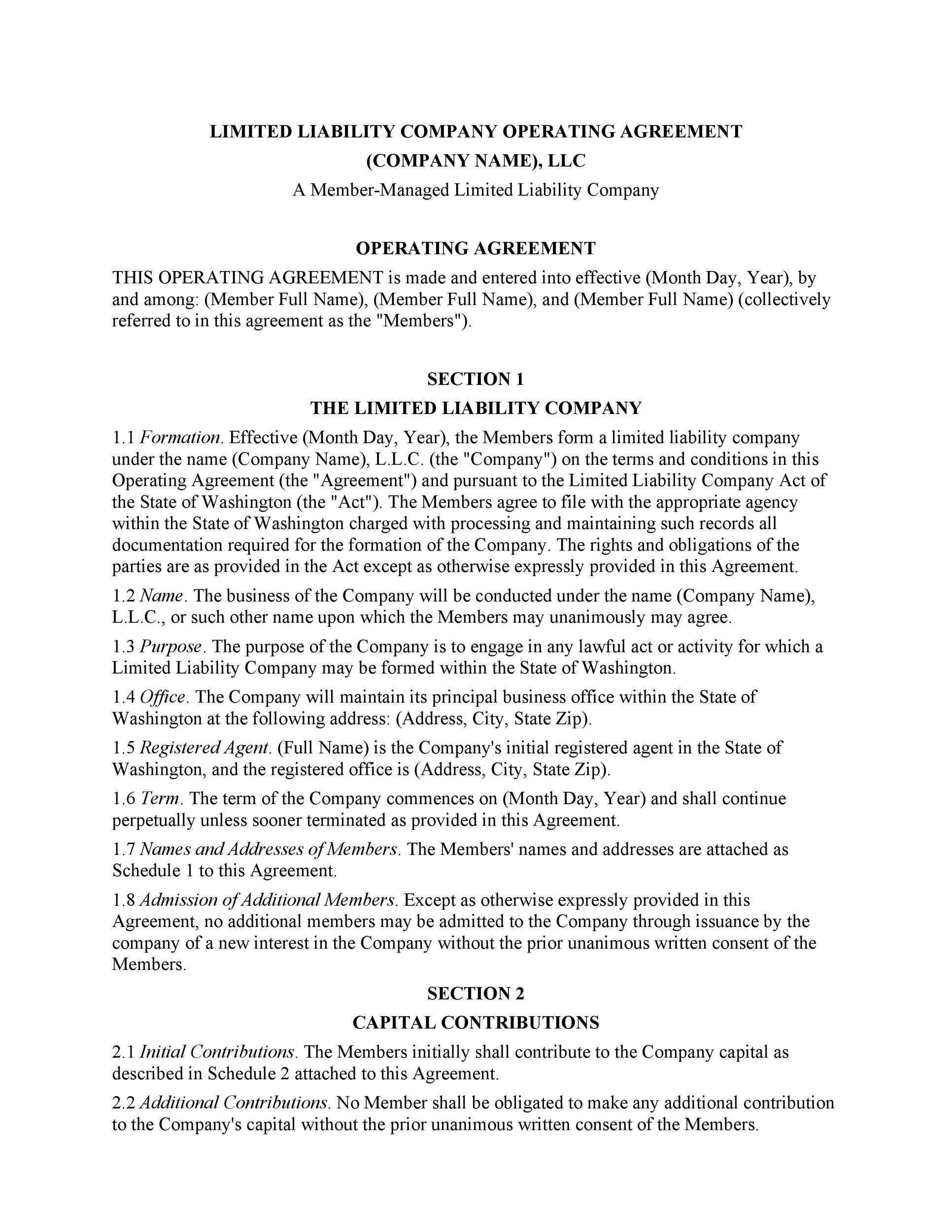 An llc operating agreement, also known as an operating agreement or llc agreement, is: 30 Professional Llc Operating Agreement Templates Á… Templatelab