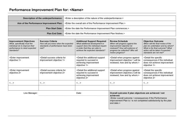 17+ Performance Improvement Plan Templates & Examples