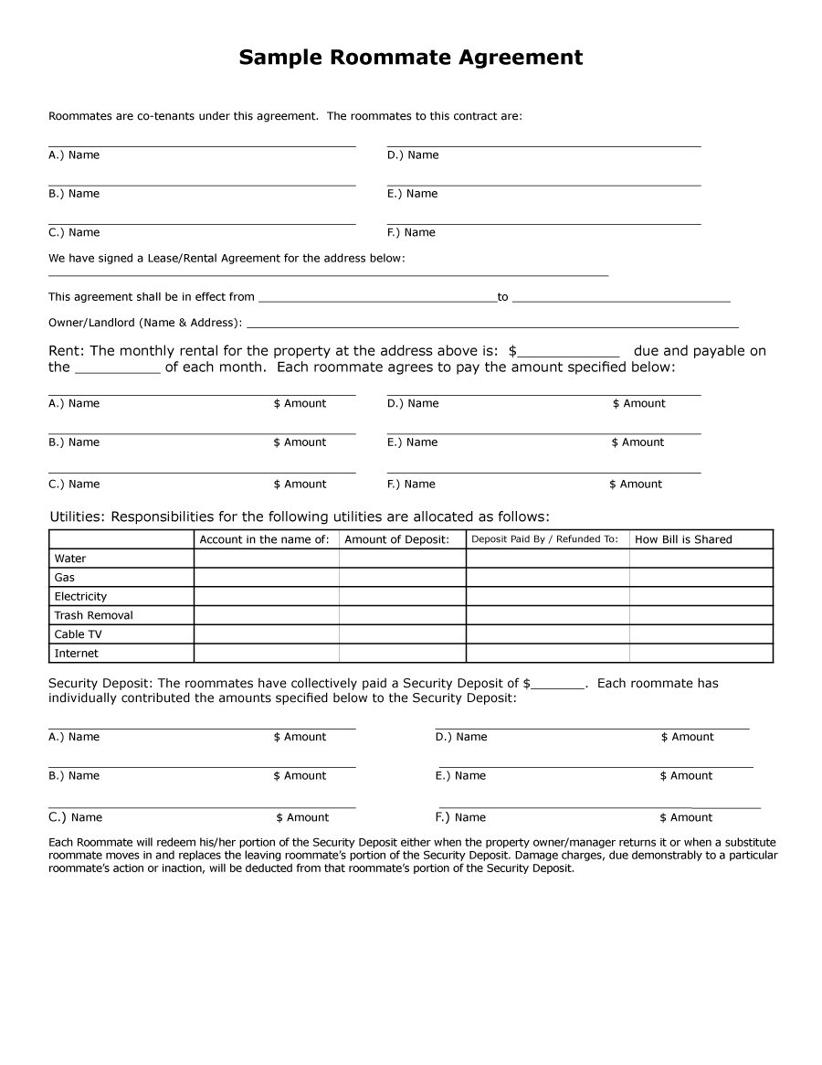 Free Roommate Agreement Template 04