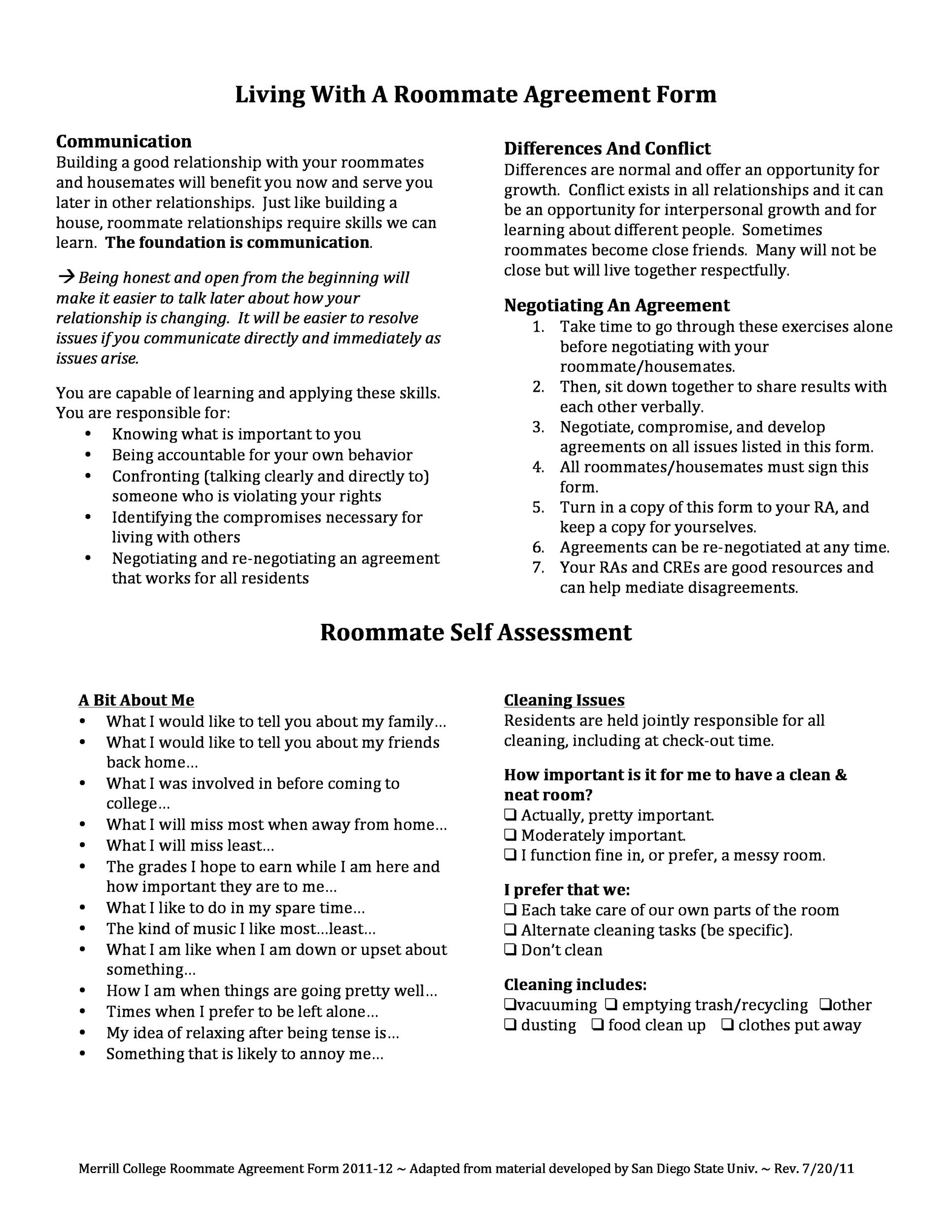 40 Free Roommate Agreement Templates Amp Forms Word