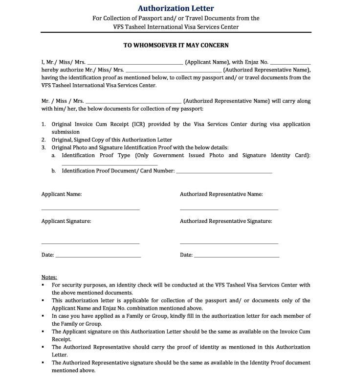 100 sle authorization letter visa application