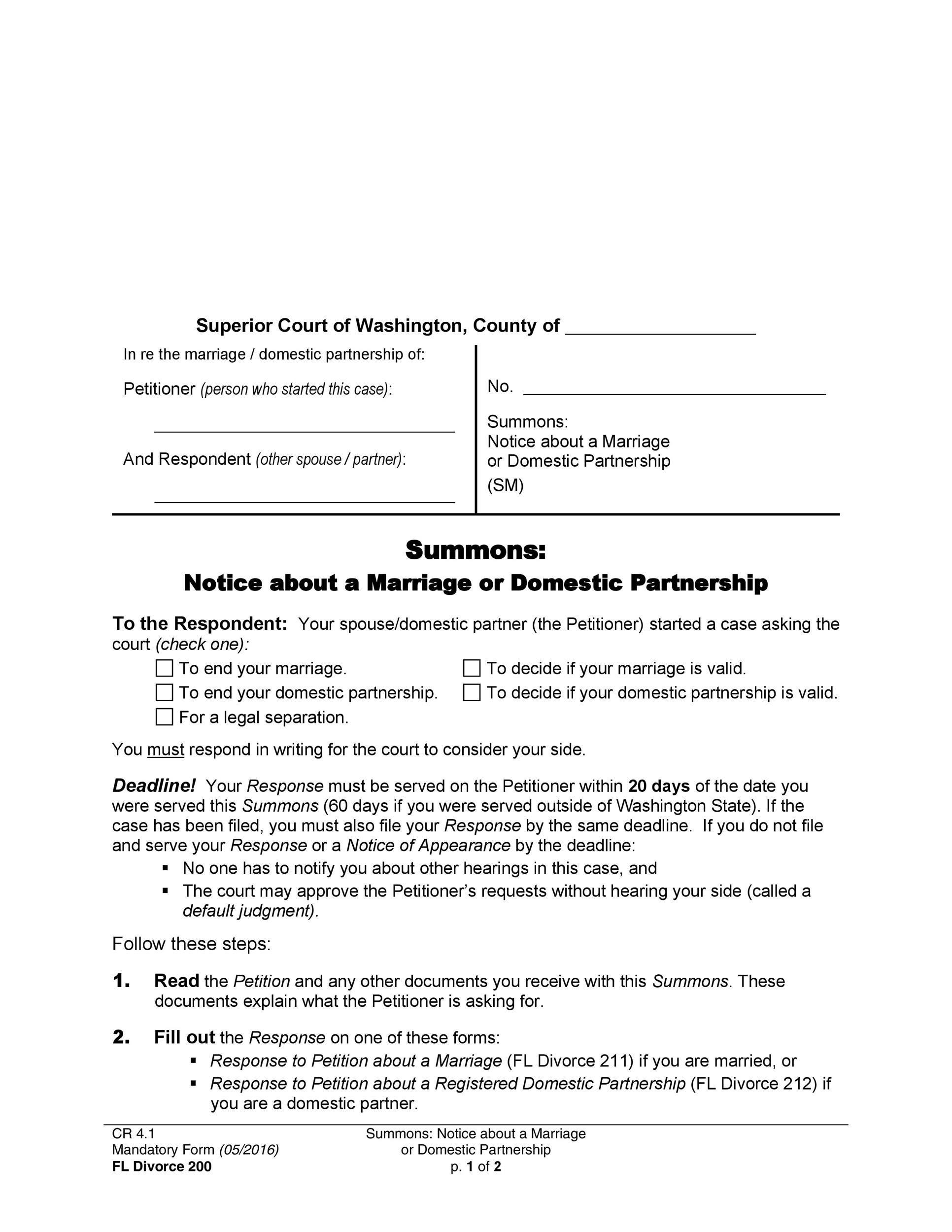 40 Free Divorce Papers Printable