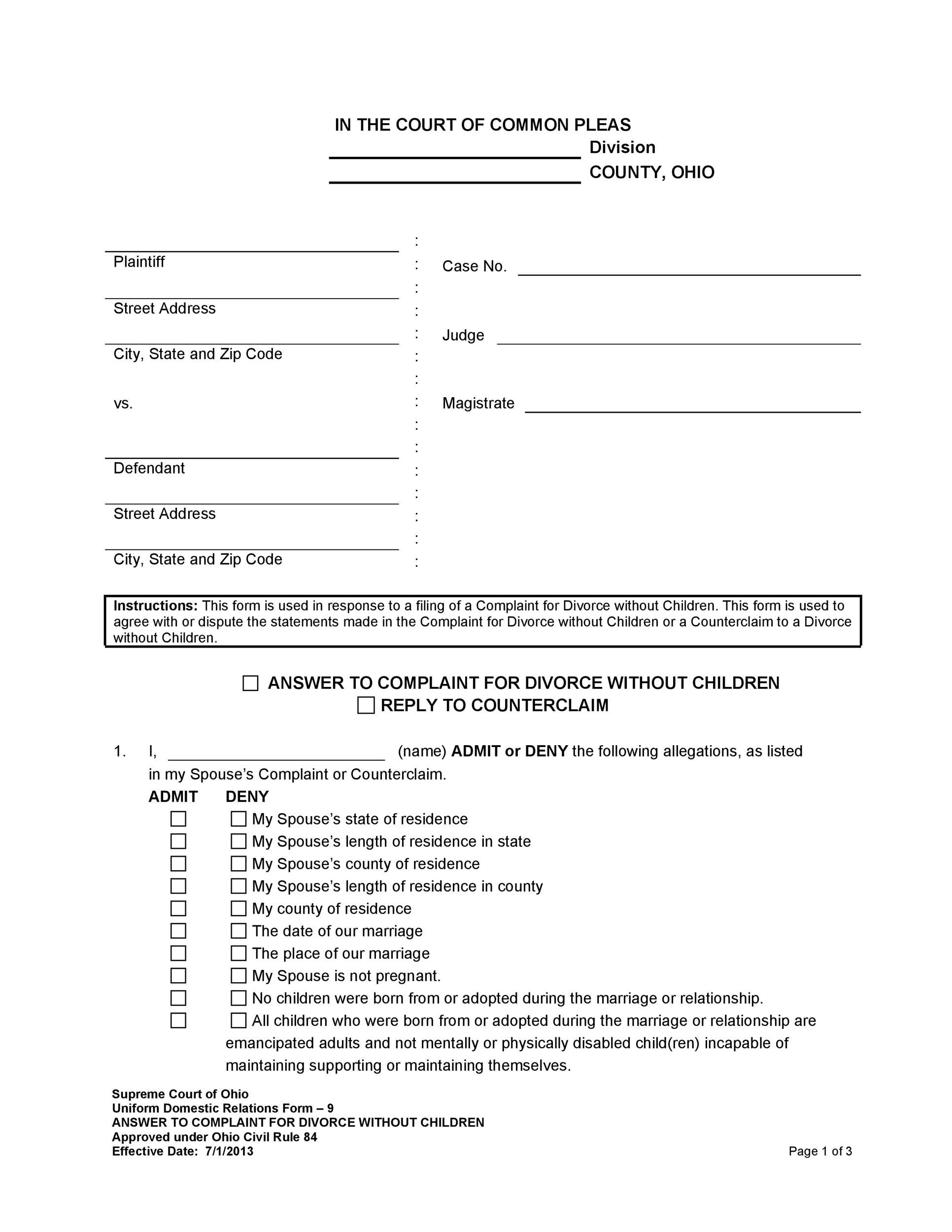 40 Free Divorce Papers Printable
