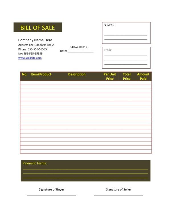 Printable Firearm Bill Of Sale Florida