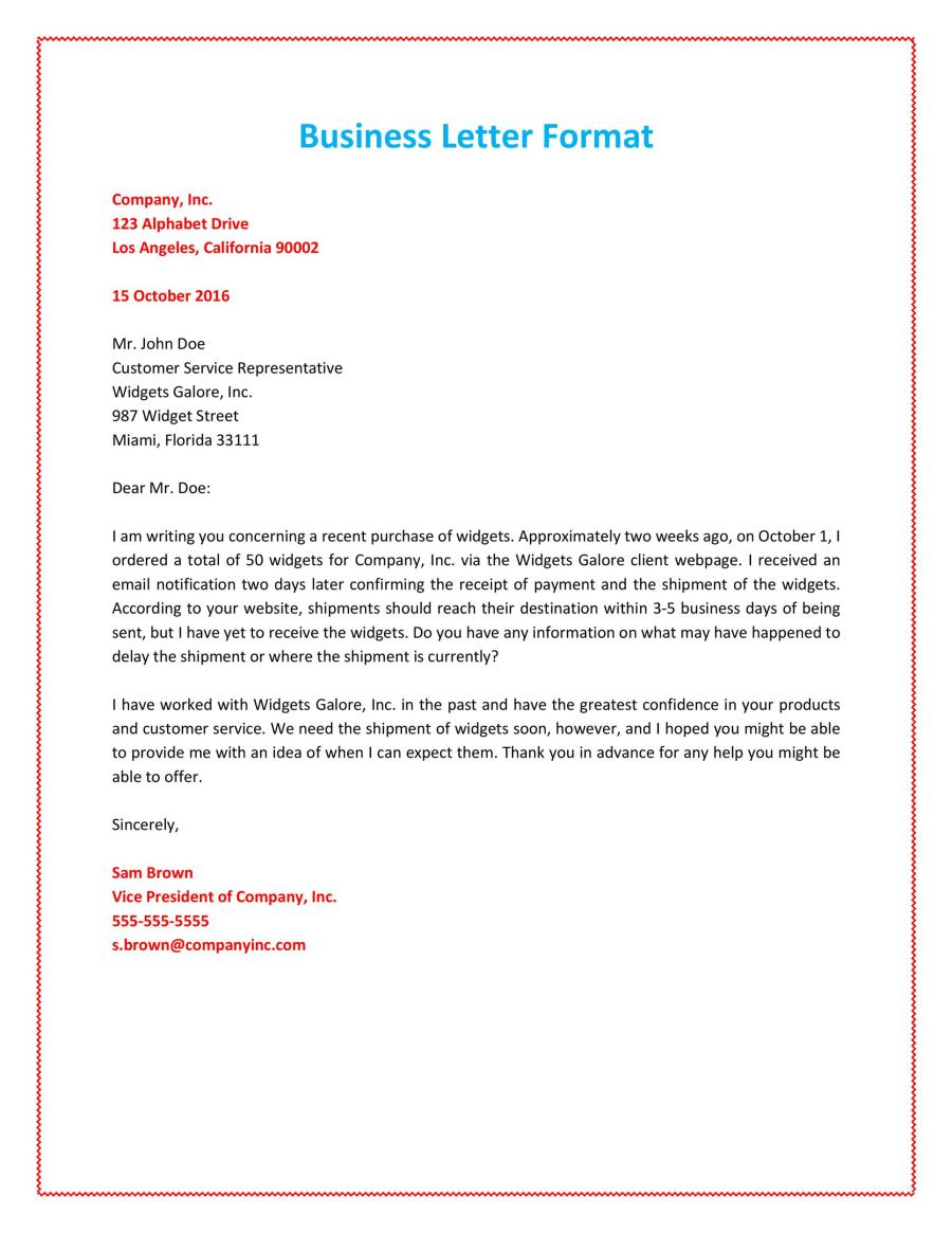 Sample Business Letter Format With Thru