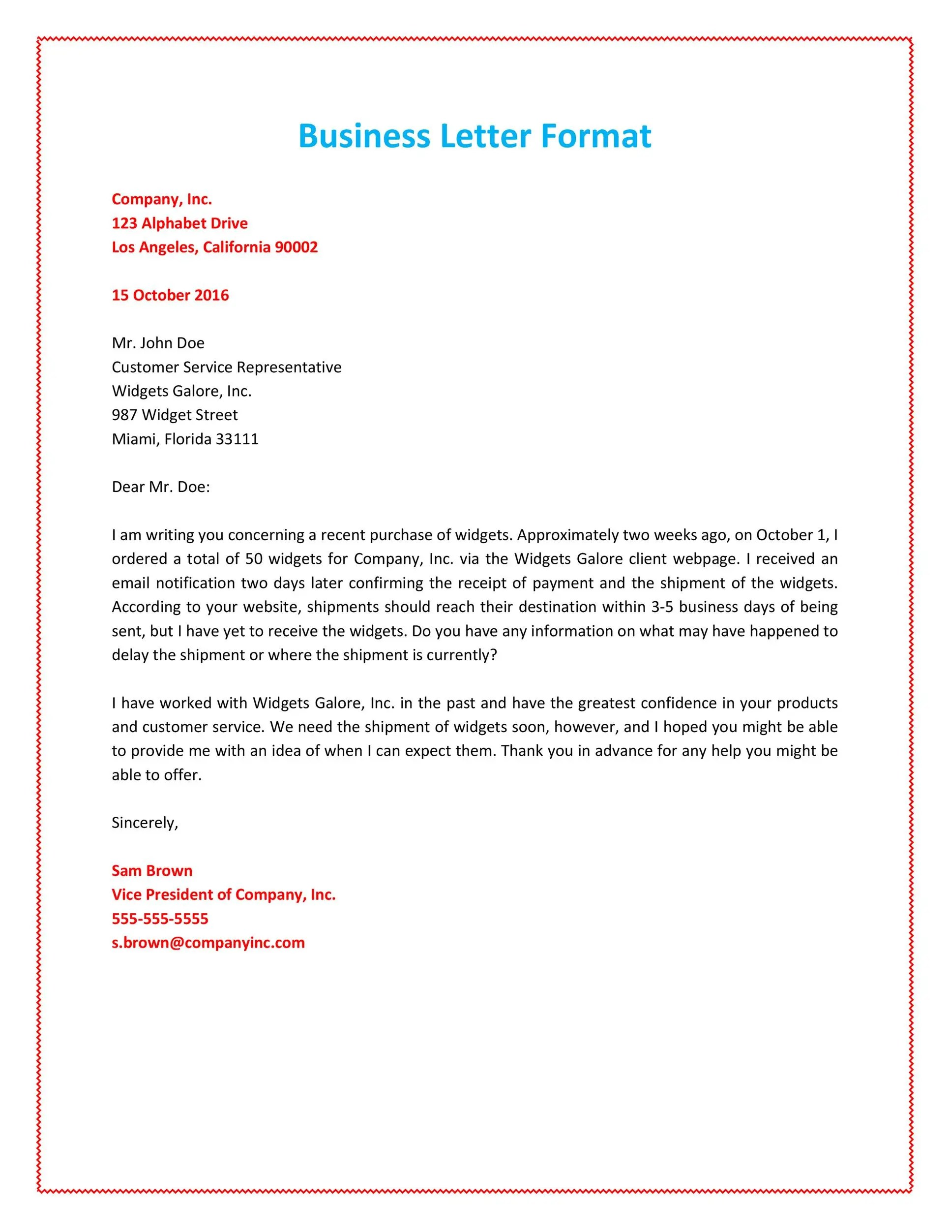 hight resolution of business letter format example