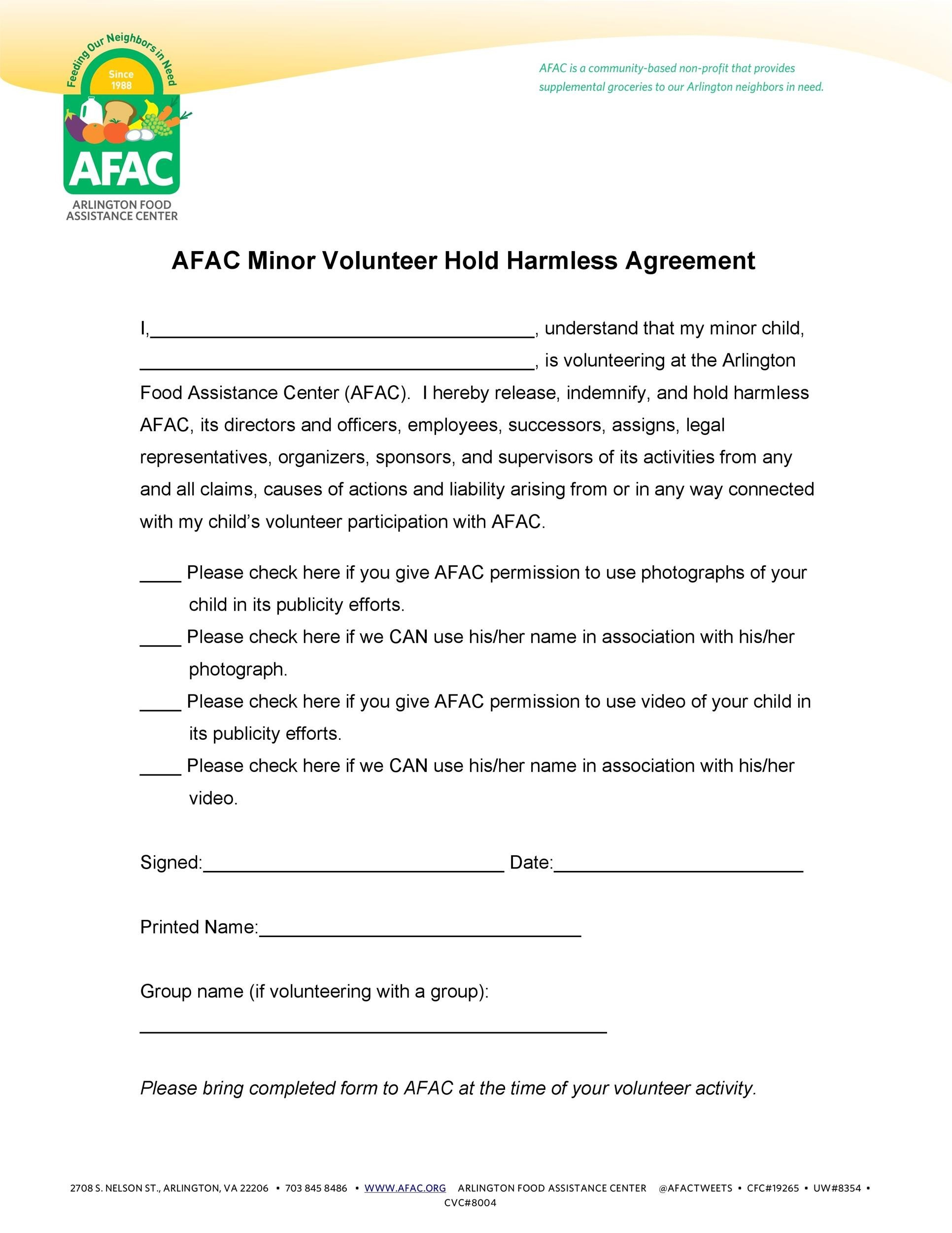 Free Hold Harmless Agreement Template 01