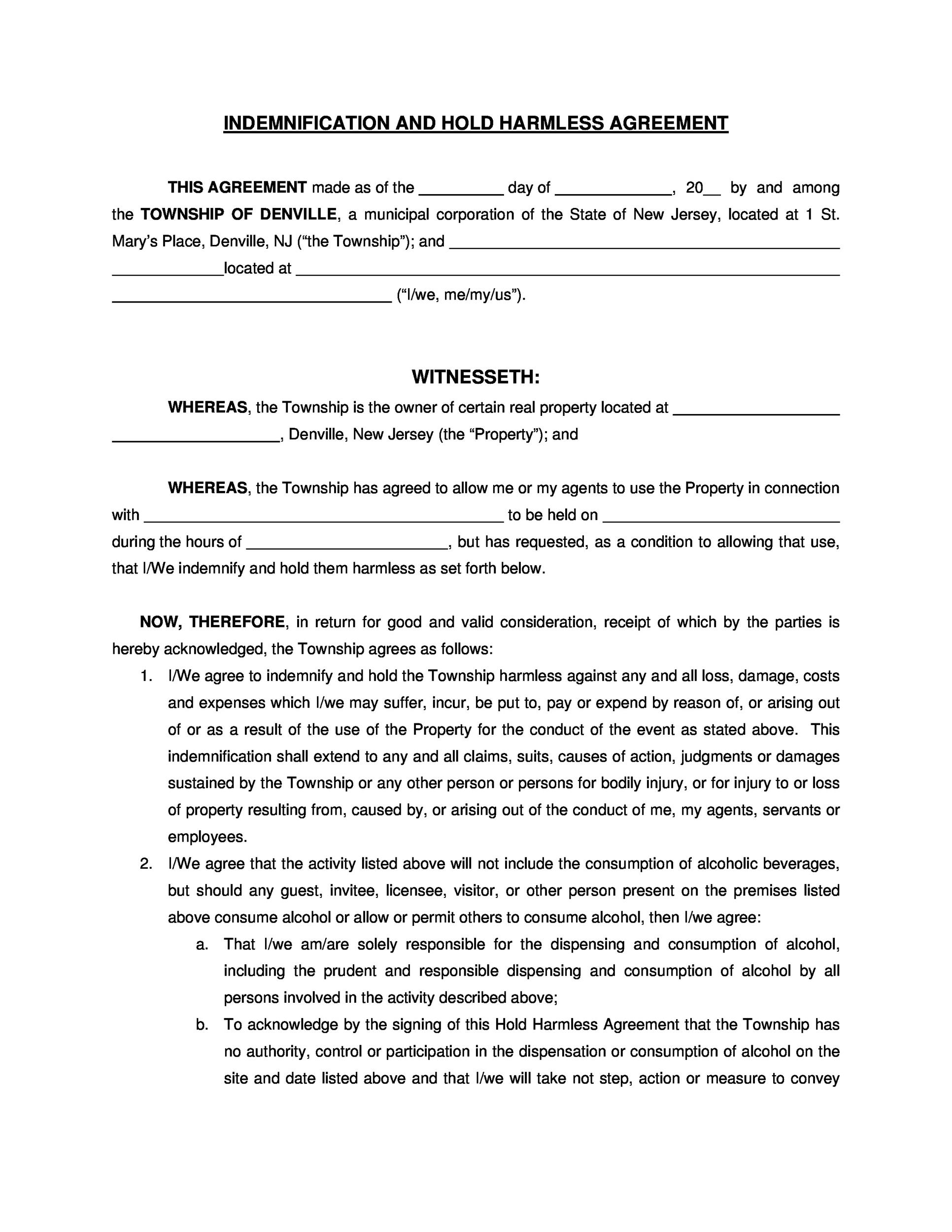 Free Hold Harmless Agreement Template 11