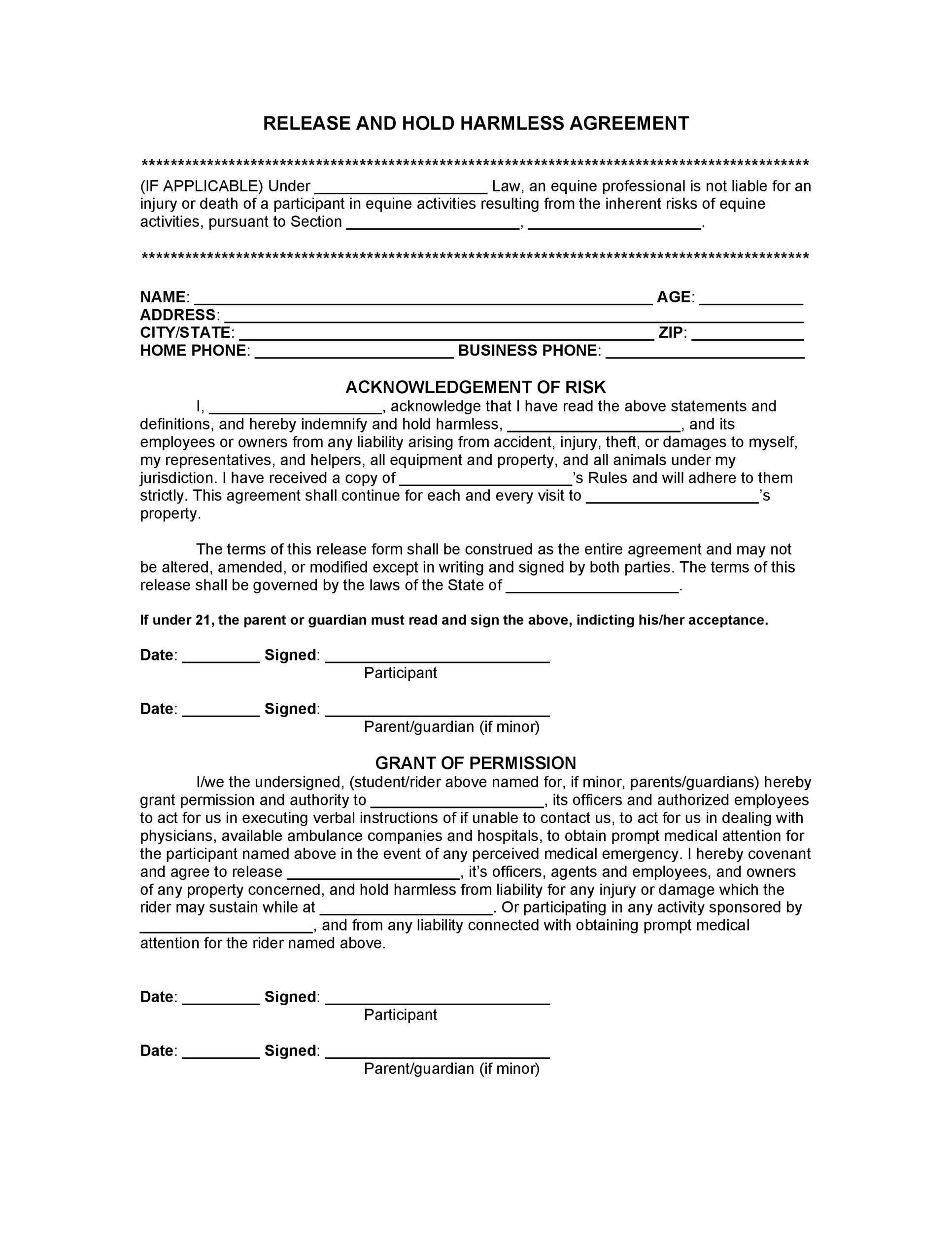 Free Hold Harmless Agreement Template 16