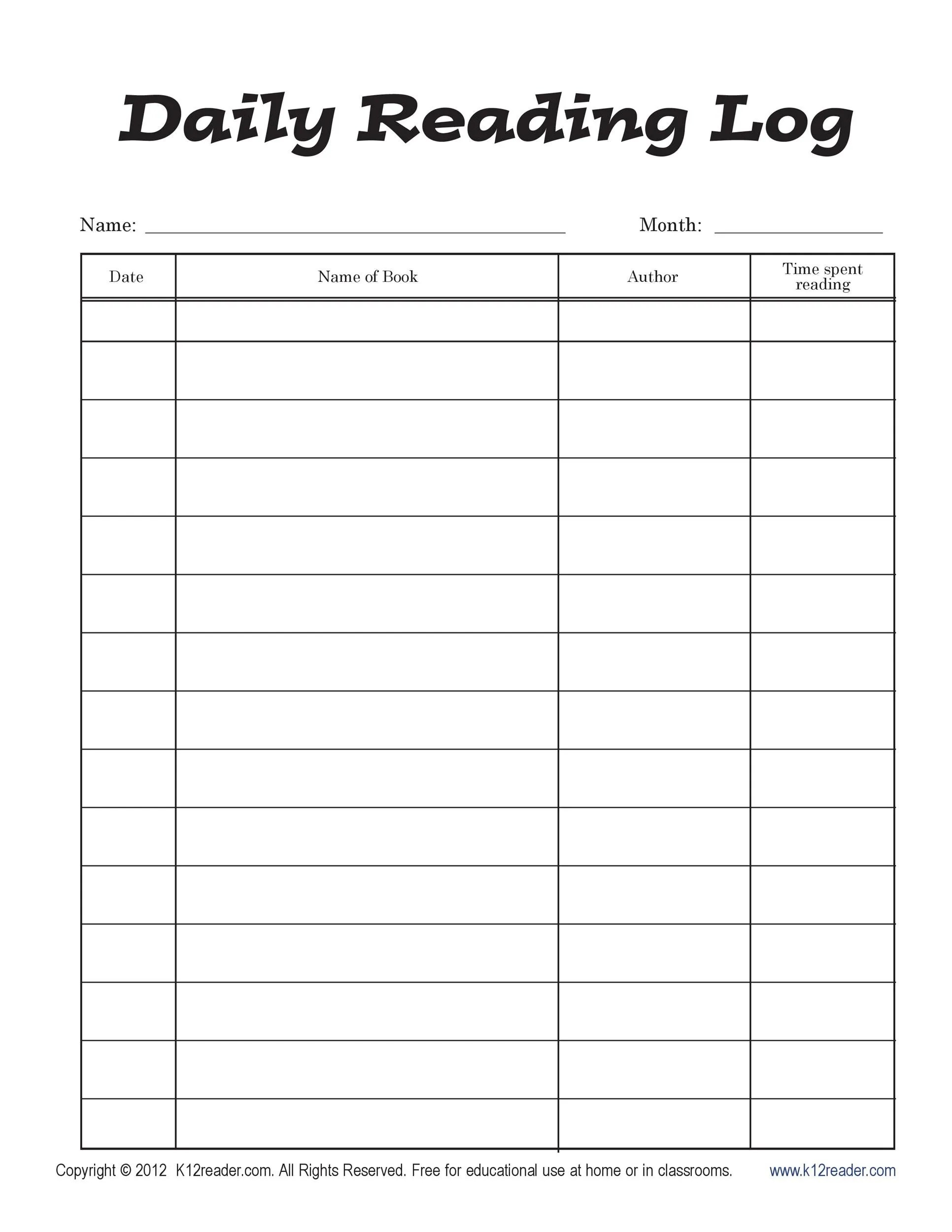 hight resolution of 47 Printable Reading Log Templates for Kids