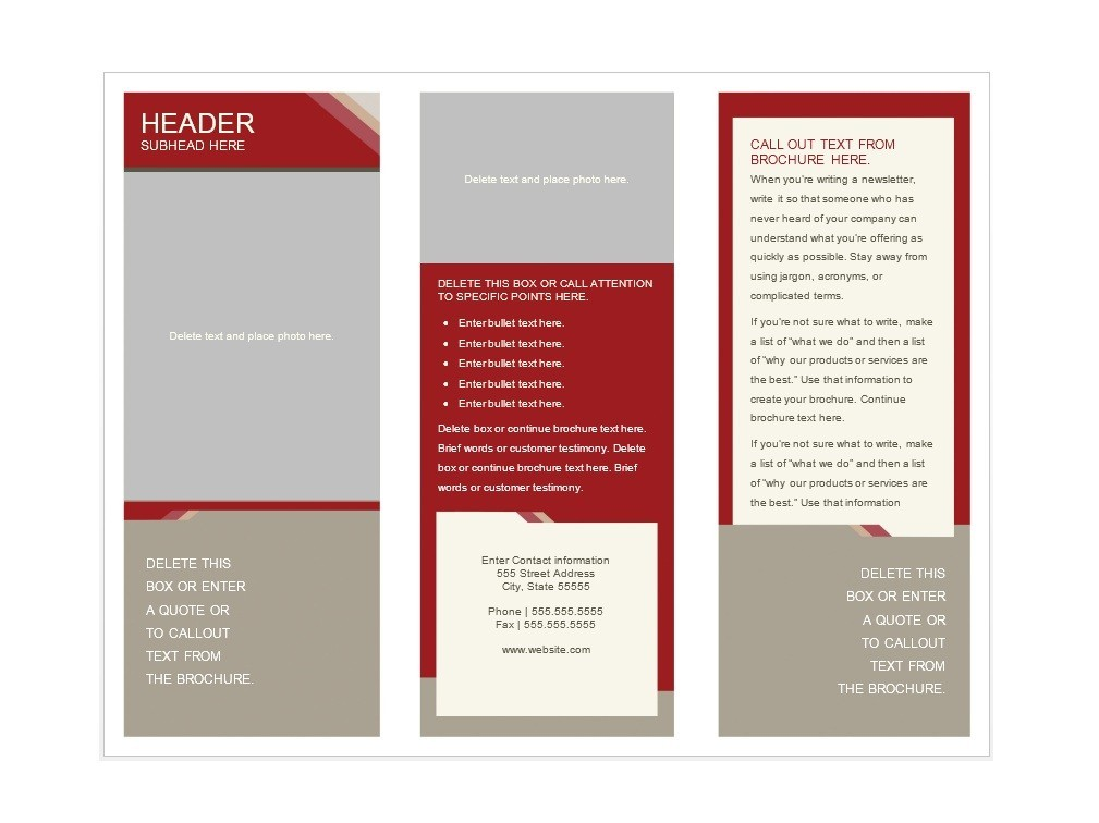 brochure text box examples