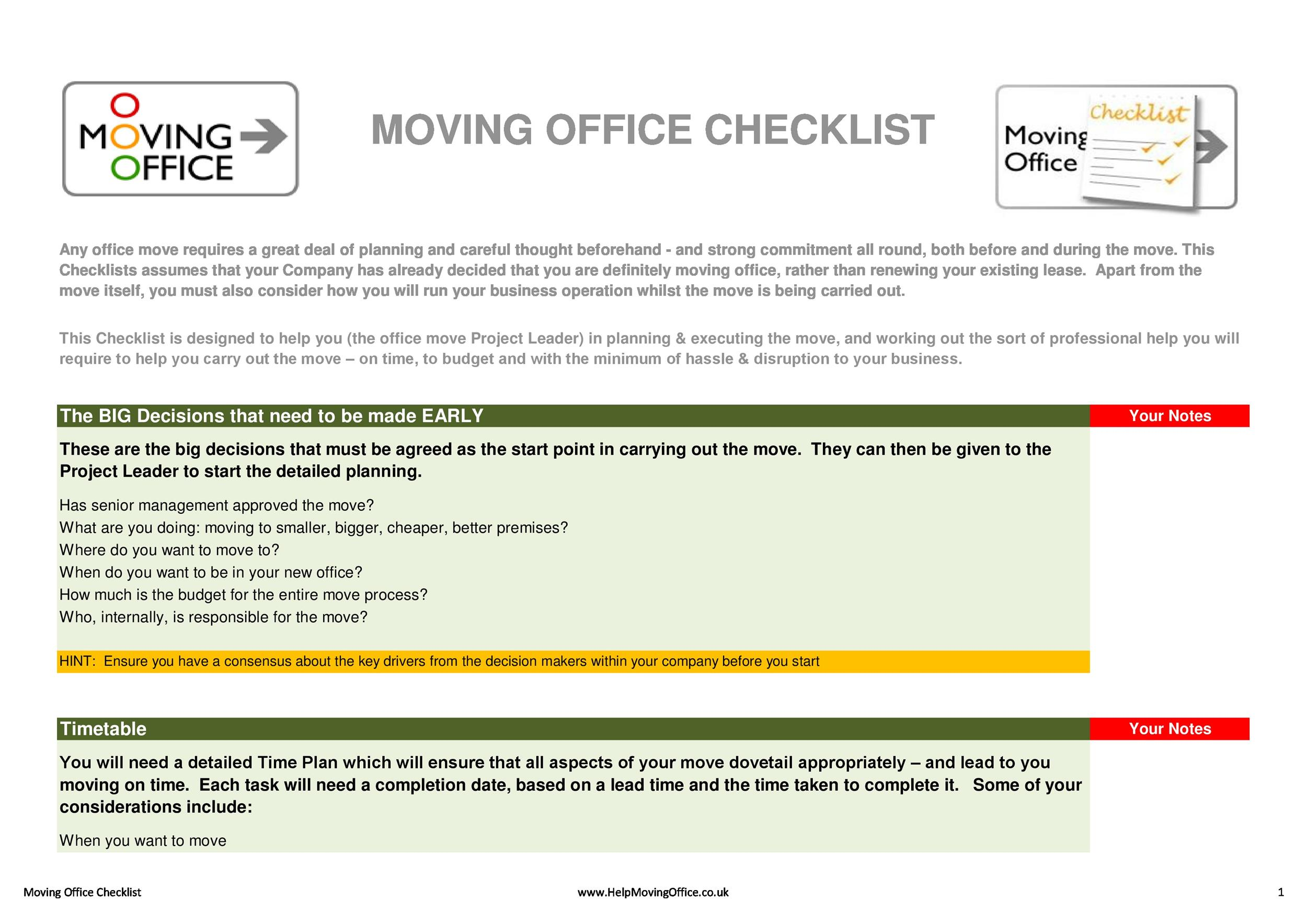 45 great moving checklists