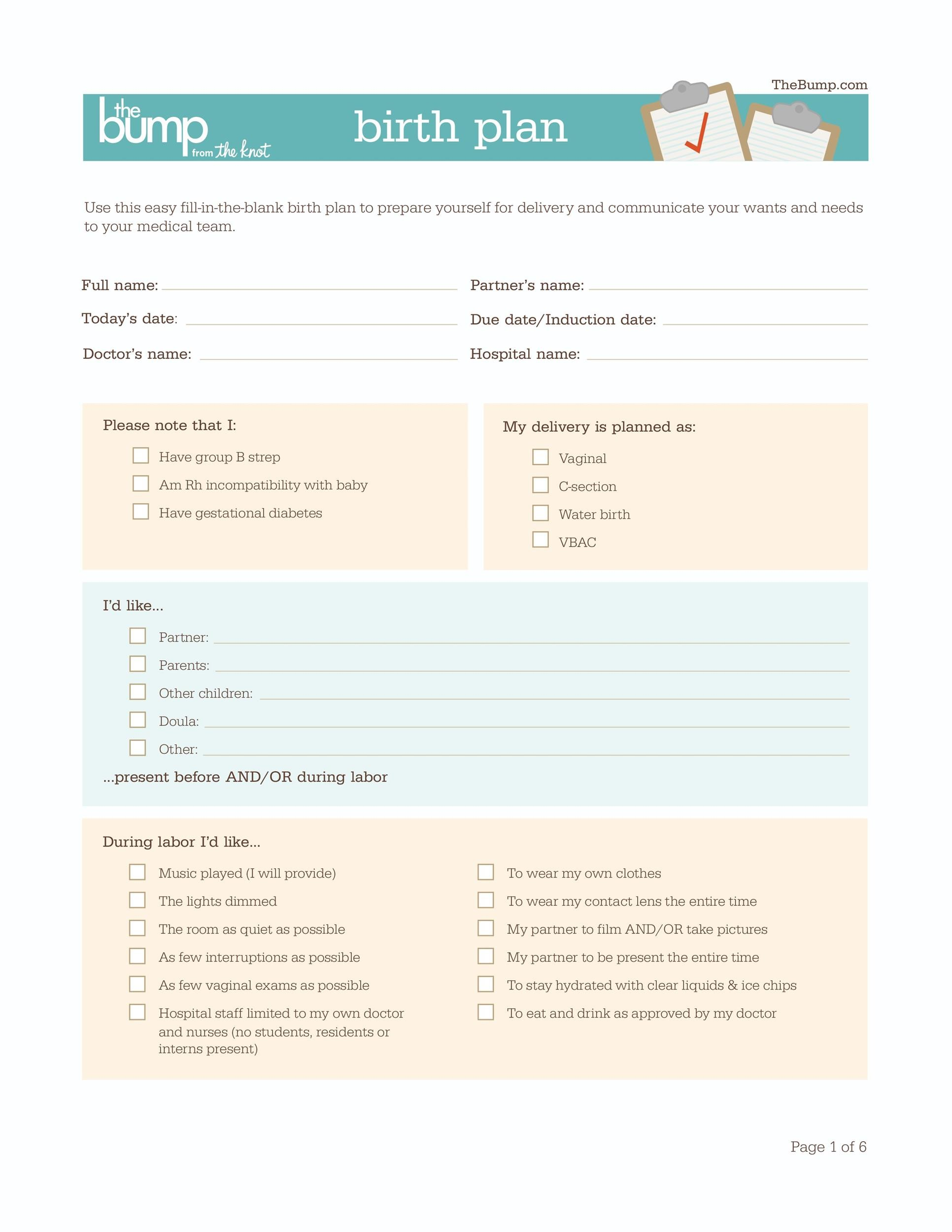 Editable birth plan for Cesarean birth plan template
