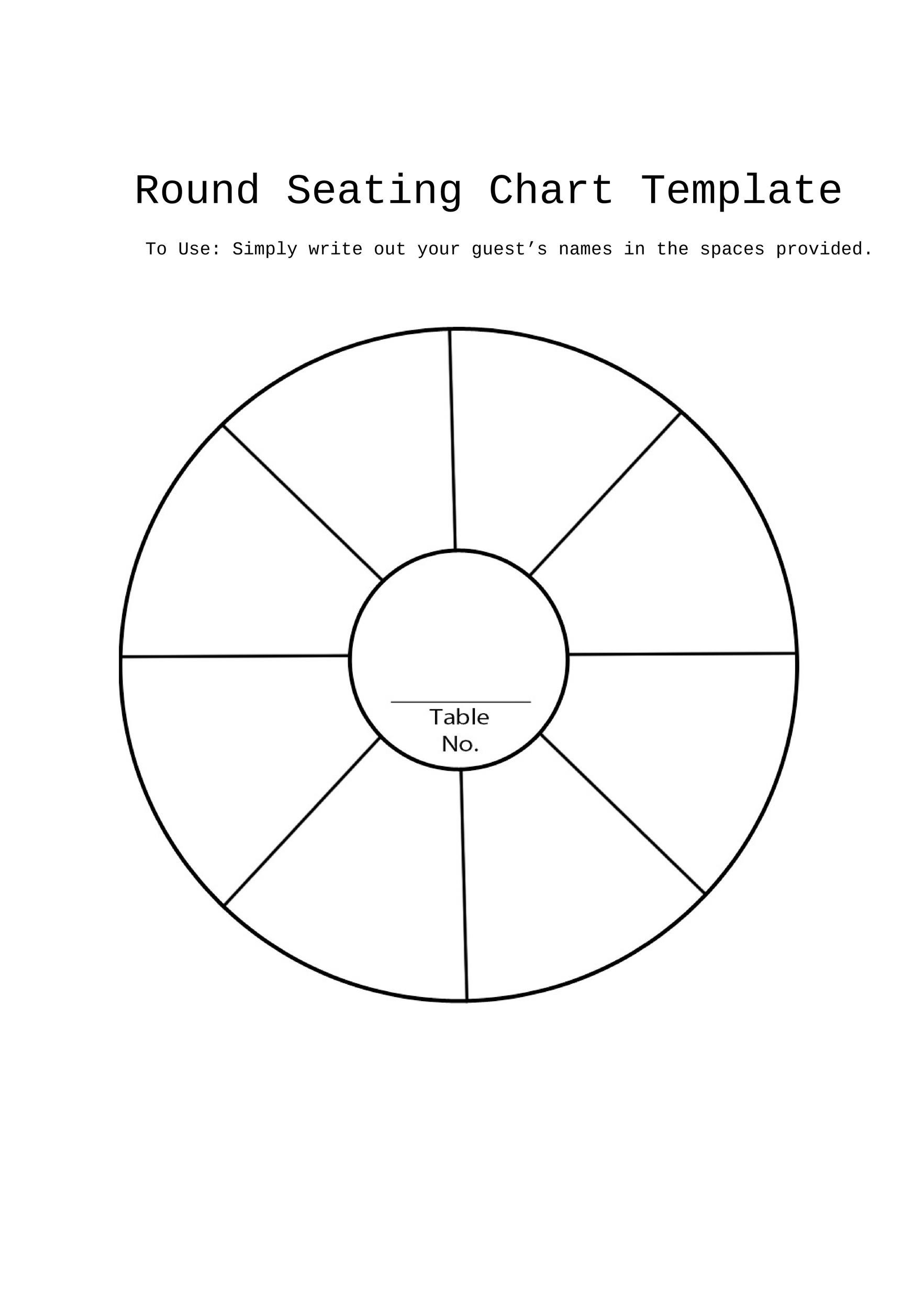 Free Round Table Seating Plan Template