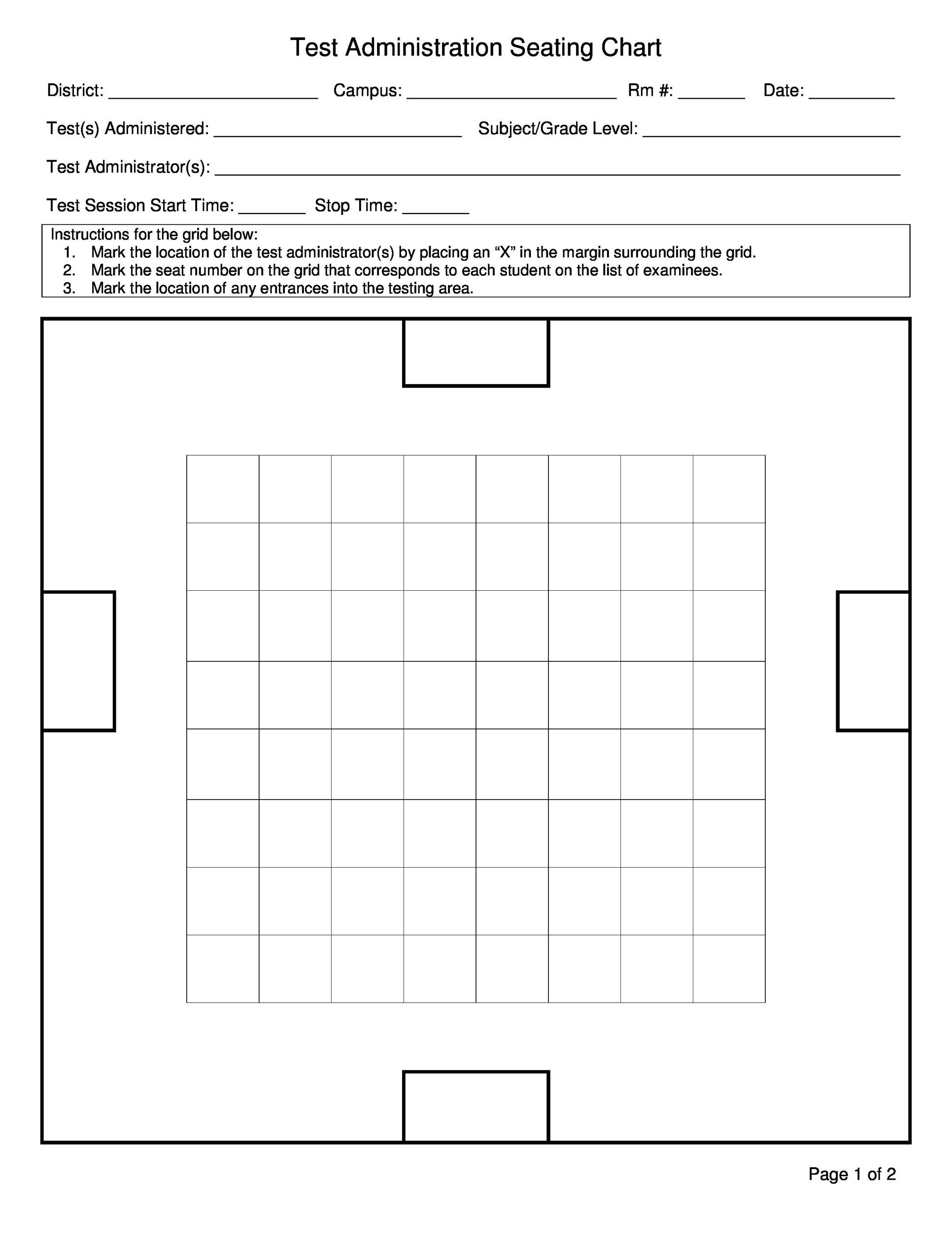 hight resolution of free seating chart template 13