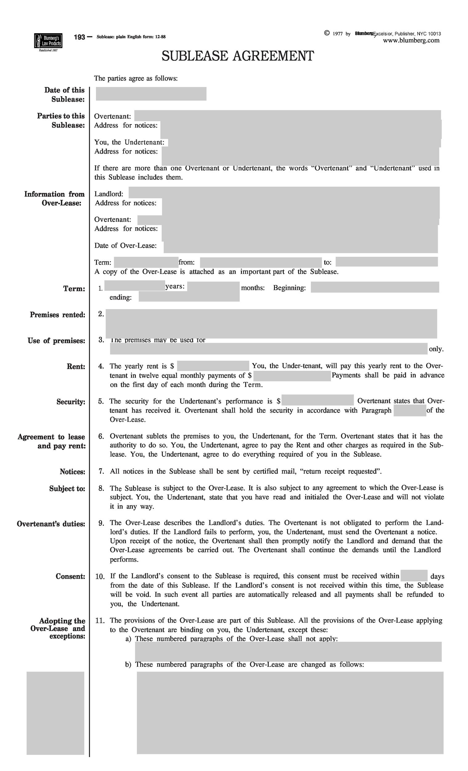 Subletting Contract Templates