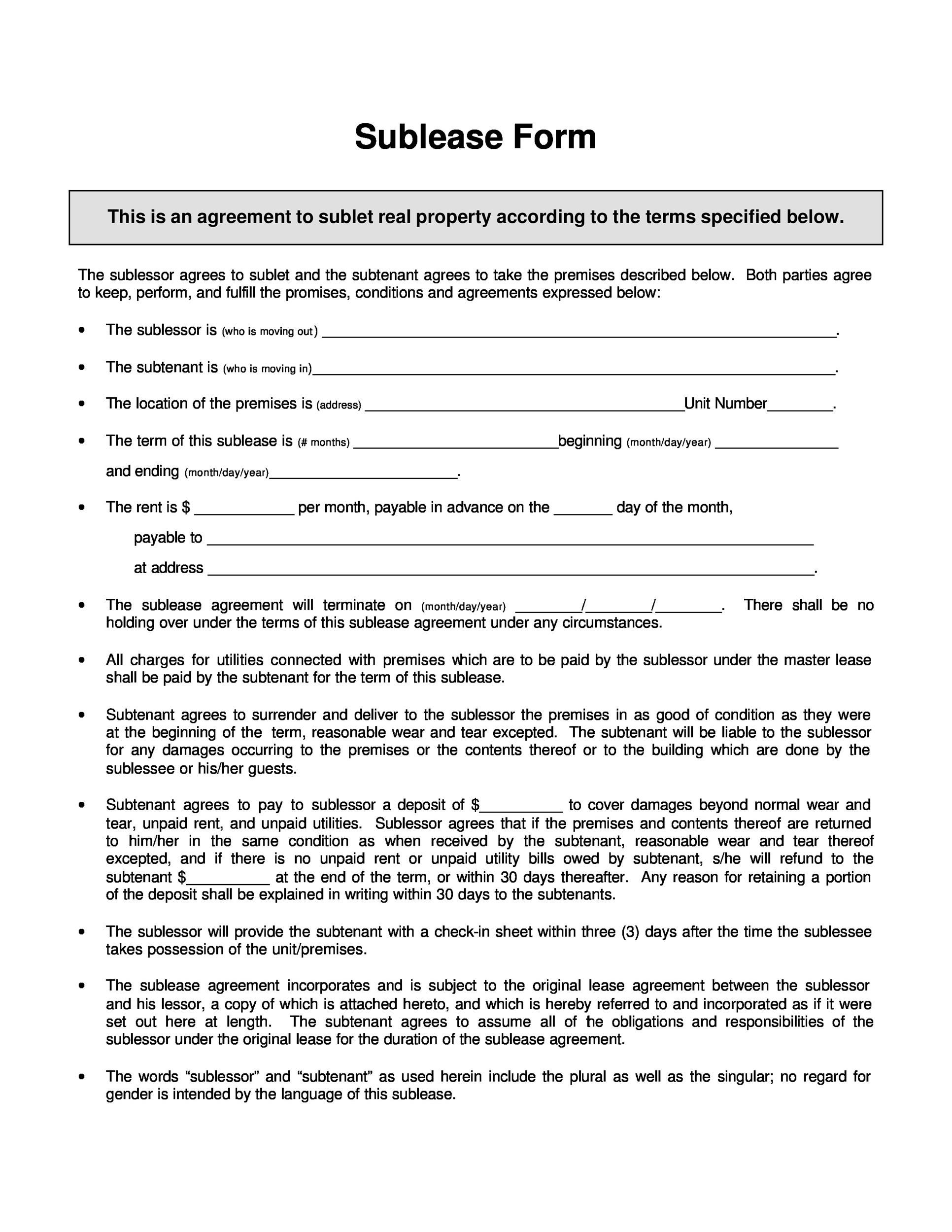 Free Sublease Agreement Template 18