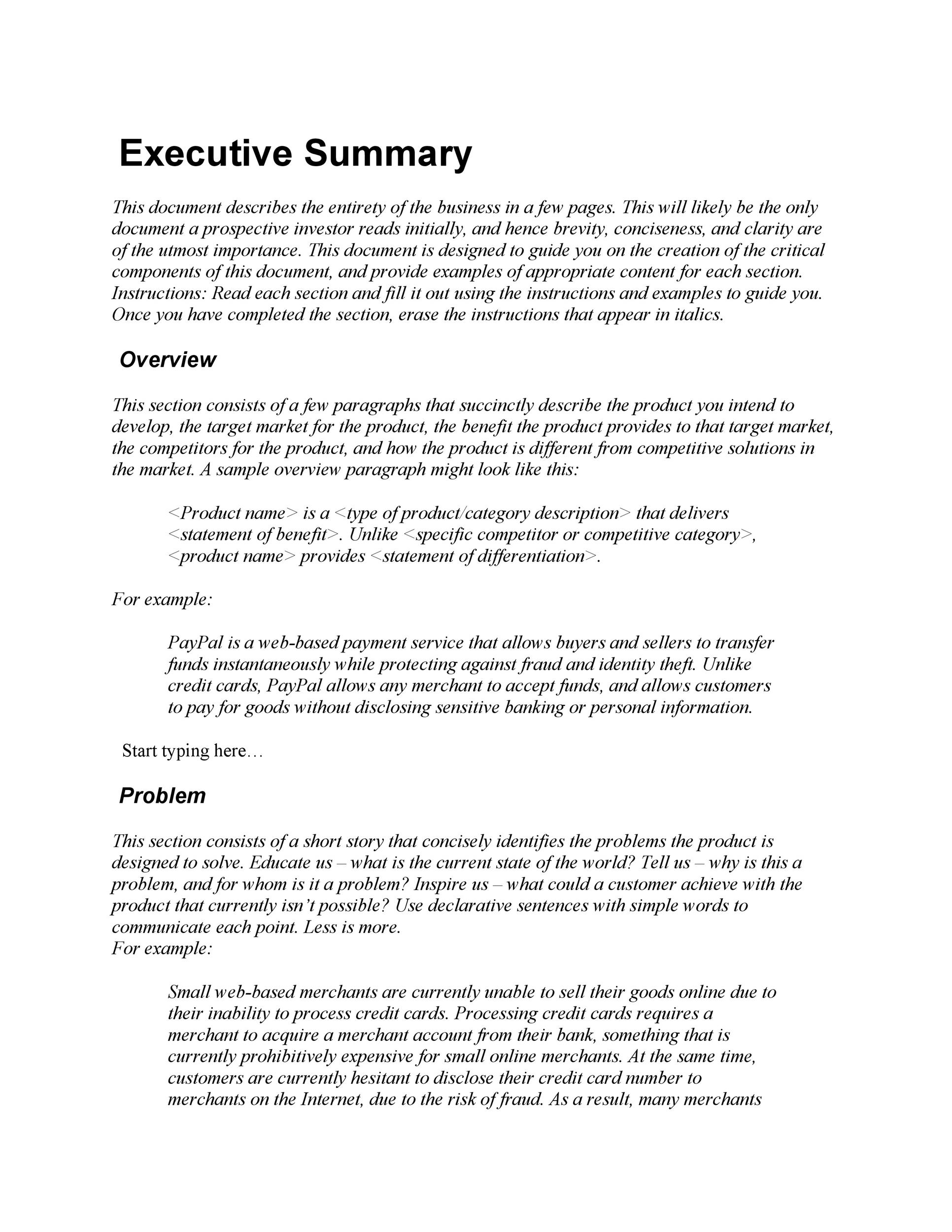 template executive summary