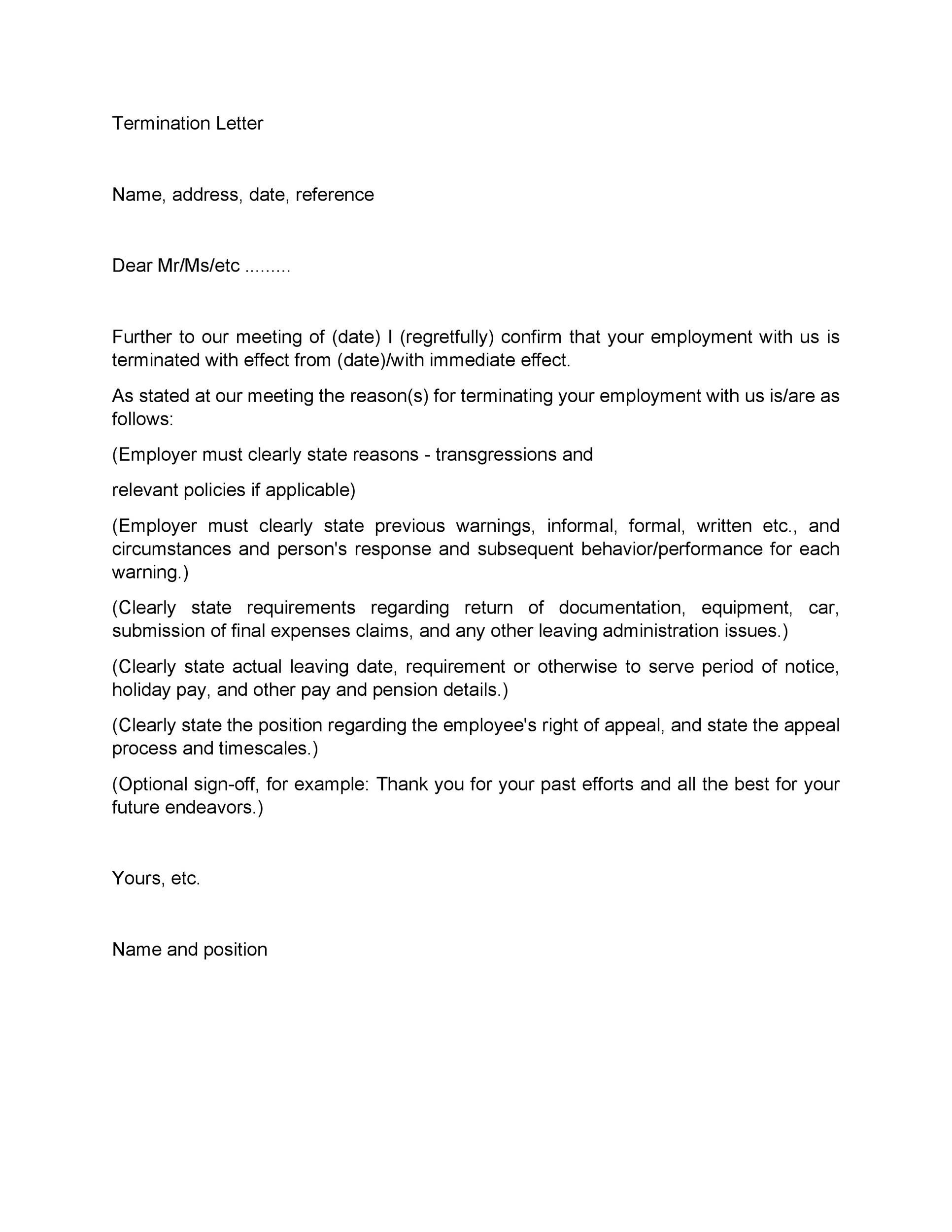 Notice Of Termination Employment Contract Letter Template