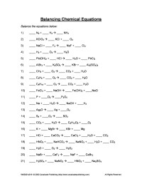 Chemistry Worksheet Balancing Equations Answers - Tessshebaylo