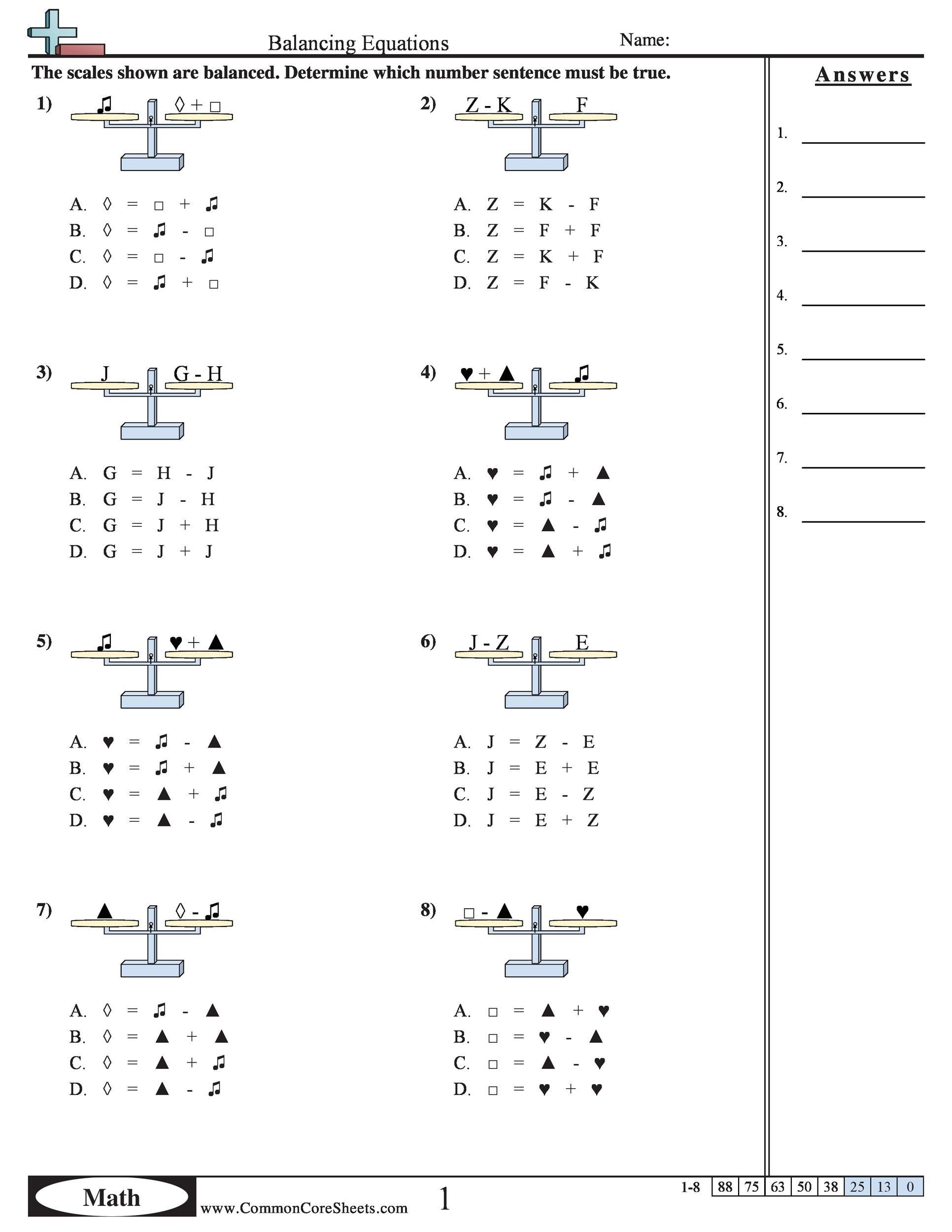 Balancing Equations Worksheet Year 6