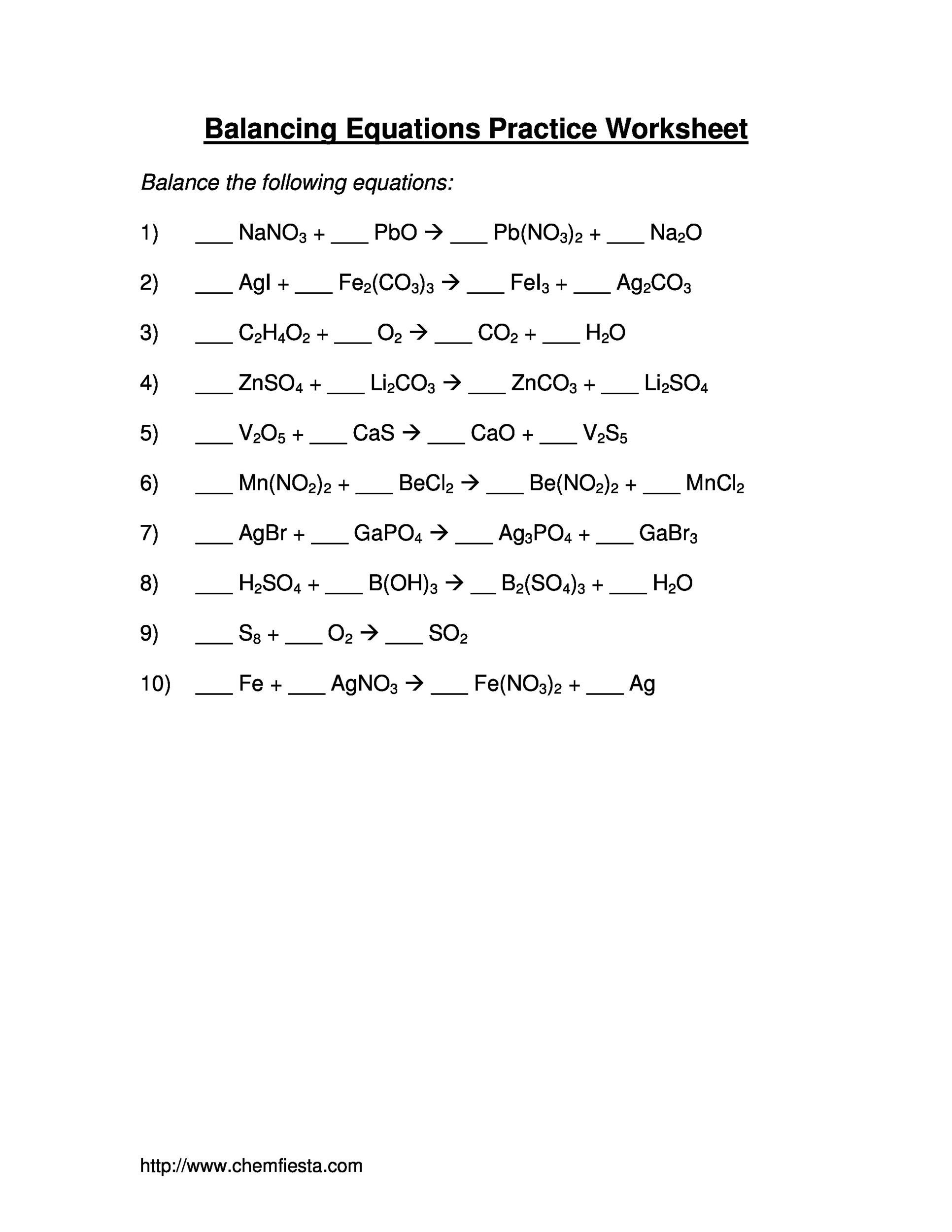 Balancing Chemical Equations Worksheet Level 2