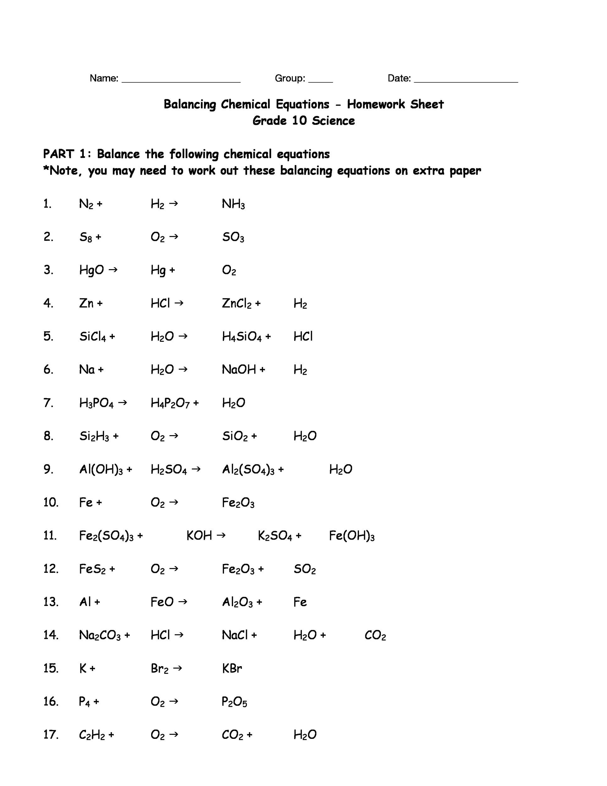 Balancing Chemical Equations Worksheet For Class 8