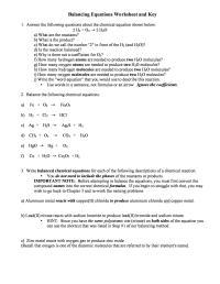 Writing Equations Chem Worksheet 10 1
