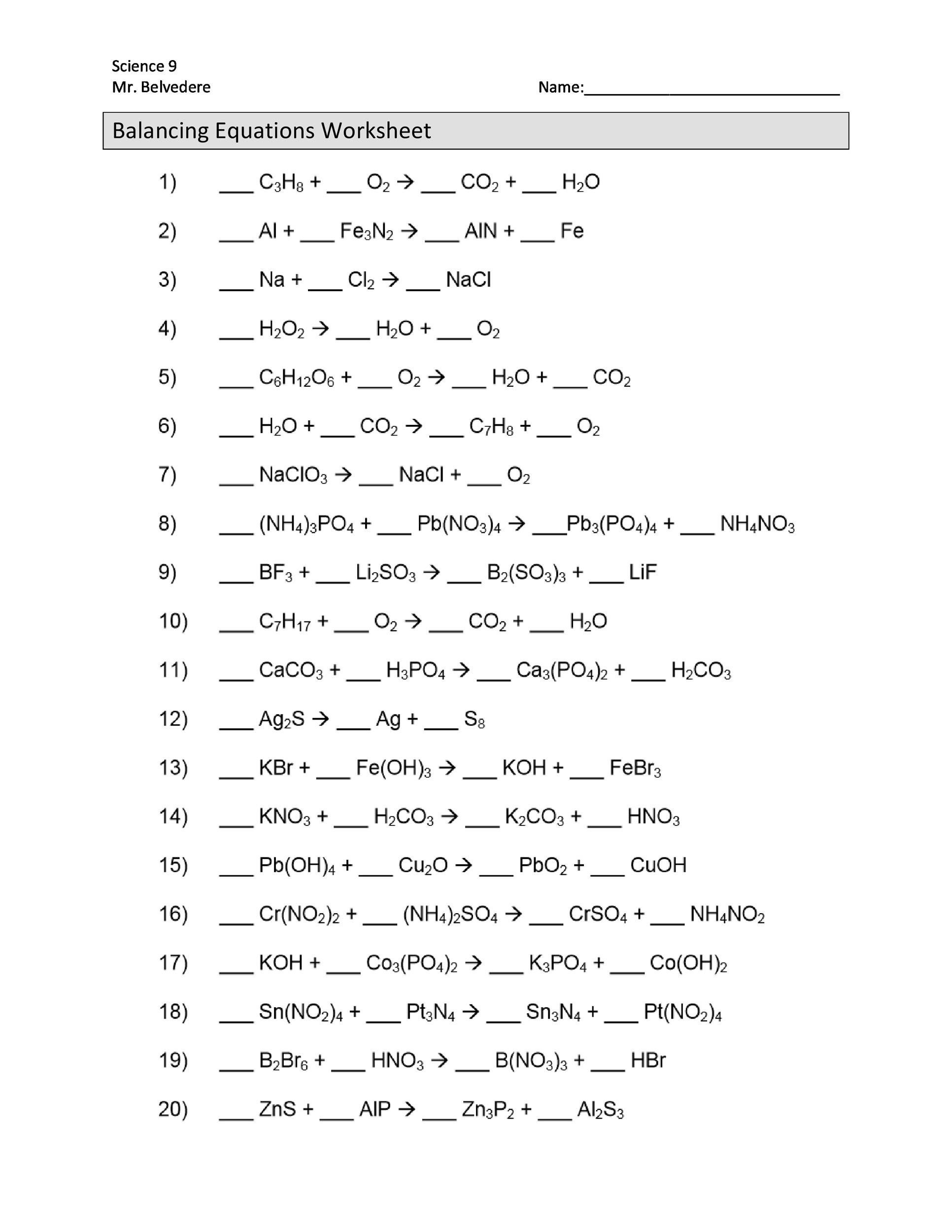 11 1 Describing Chemical Reactions Worksheet Answers