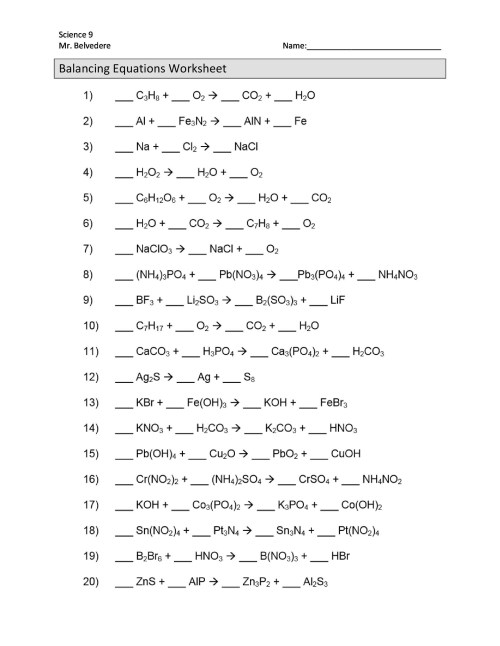 small resolution of 49 Balancing Chemical Equations Worksheets with Answers