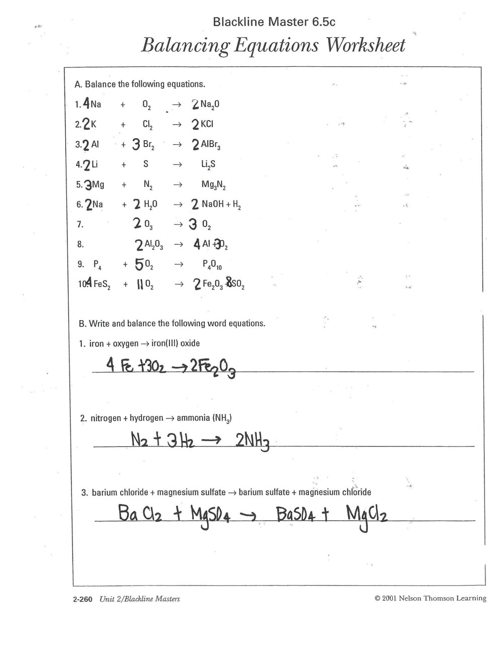 medium resolution of 49 Balancing Chemical Equations Worksheets with Answers