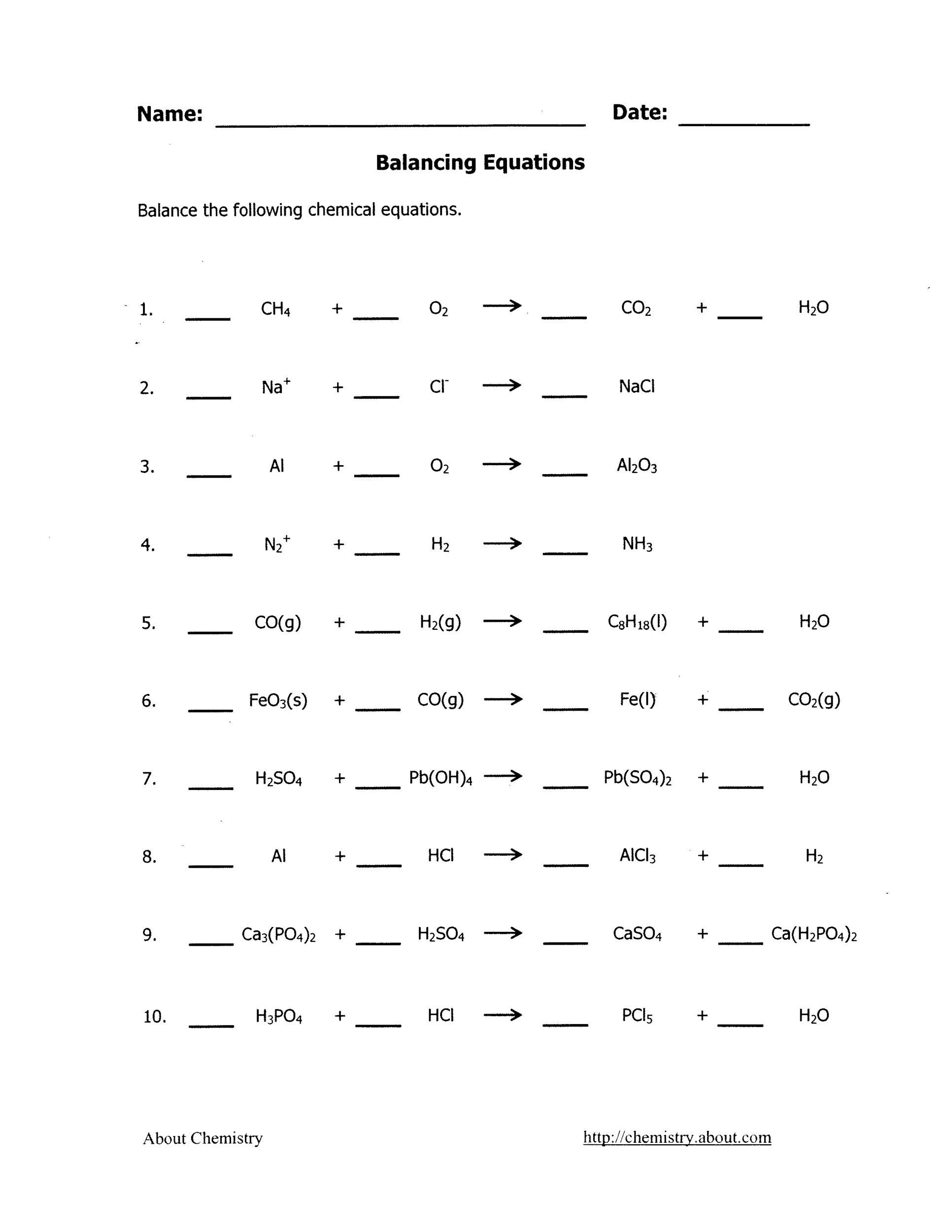 Worksheet 2 Balance The Following Chemical Equations Where