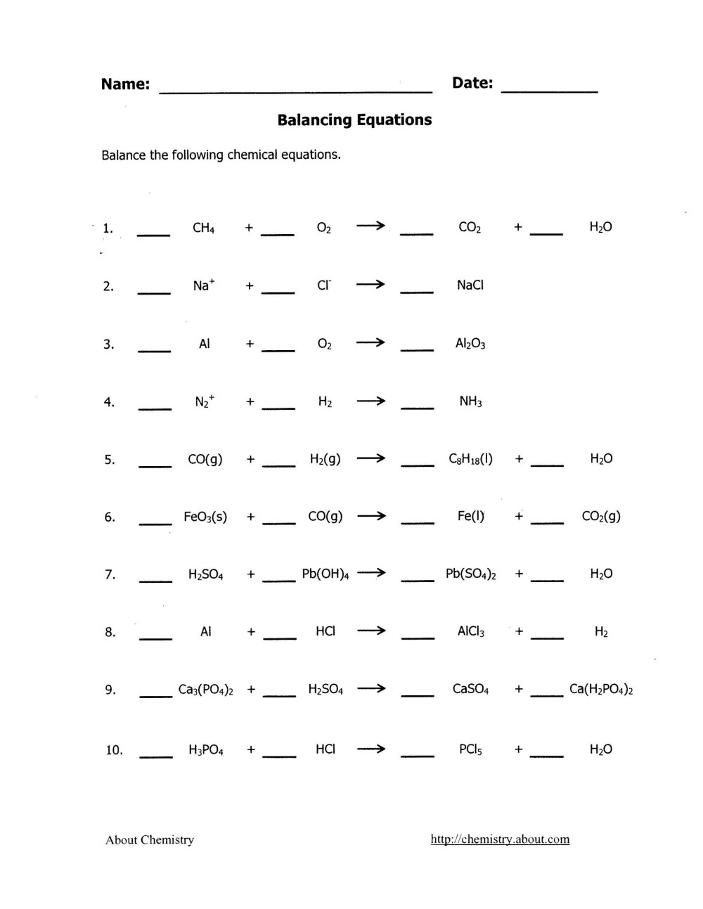 medium resolution of Balanced Equations Worksheet Balancing Act   Printable Worksheets and  Activities for Teachers