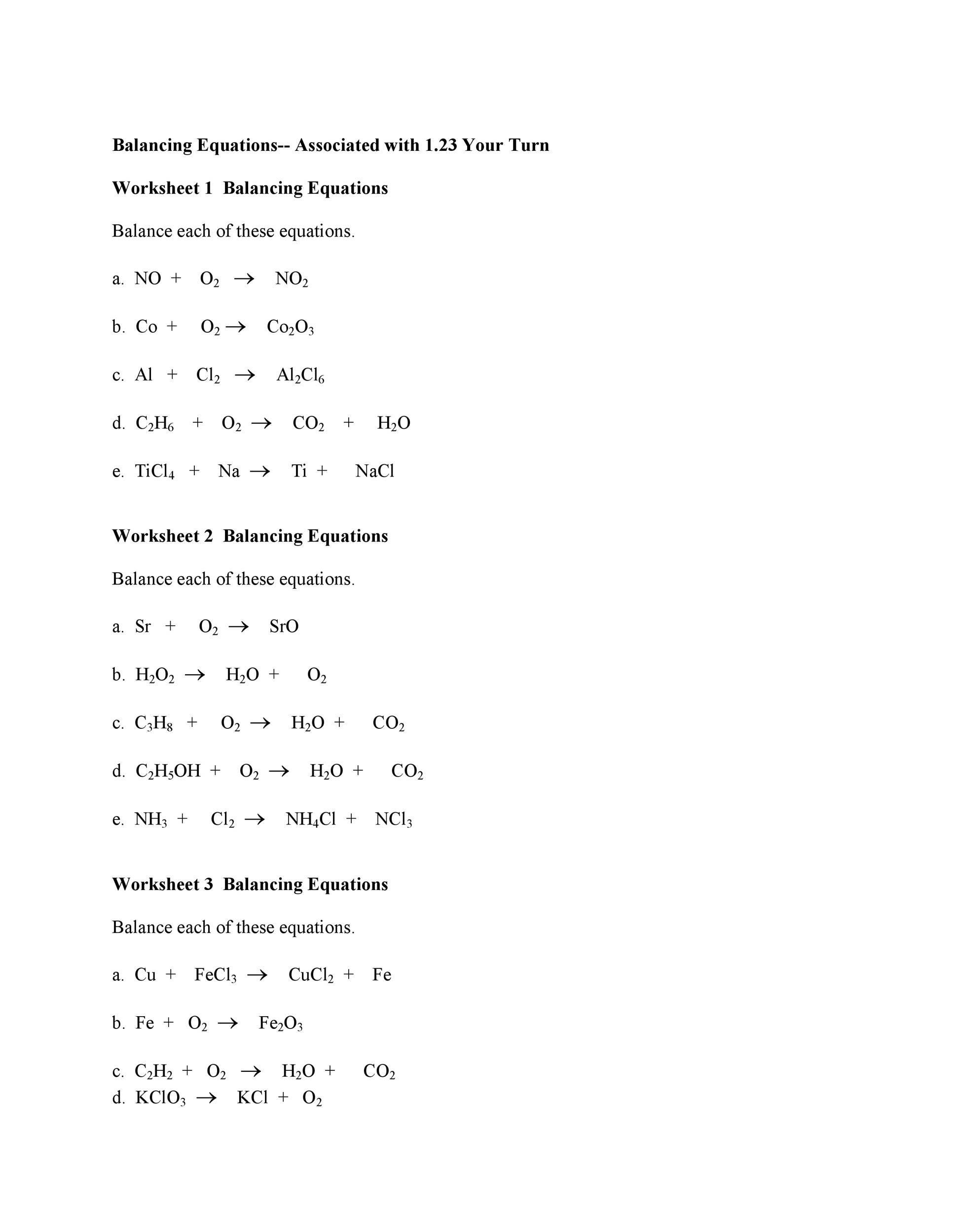 Balancing Equations Worksheet Part 2 Answers