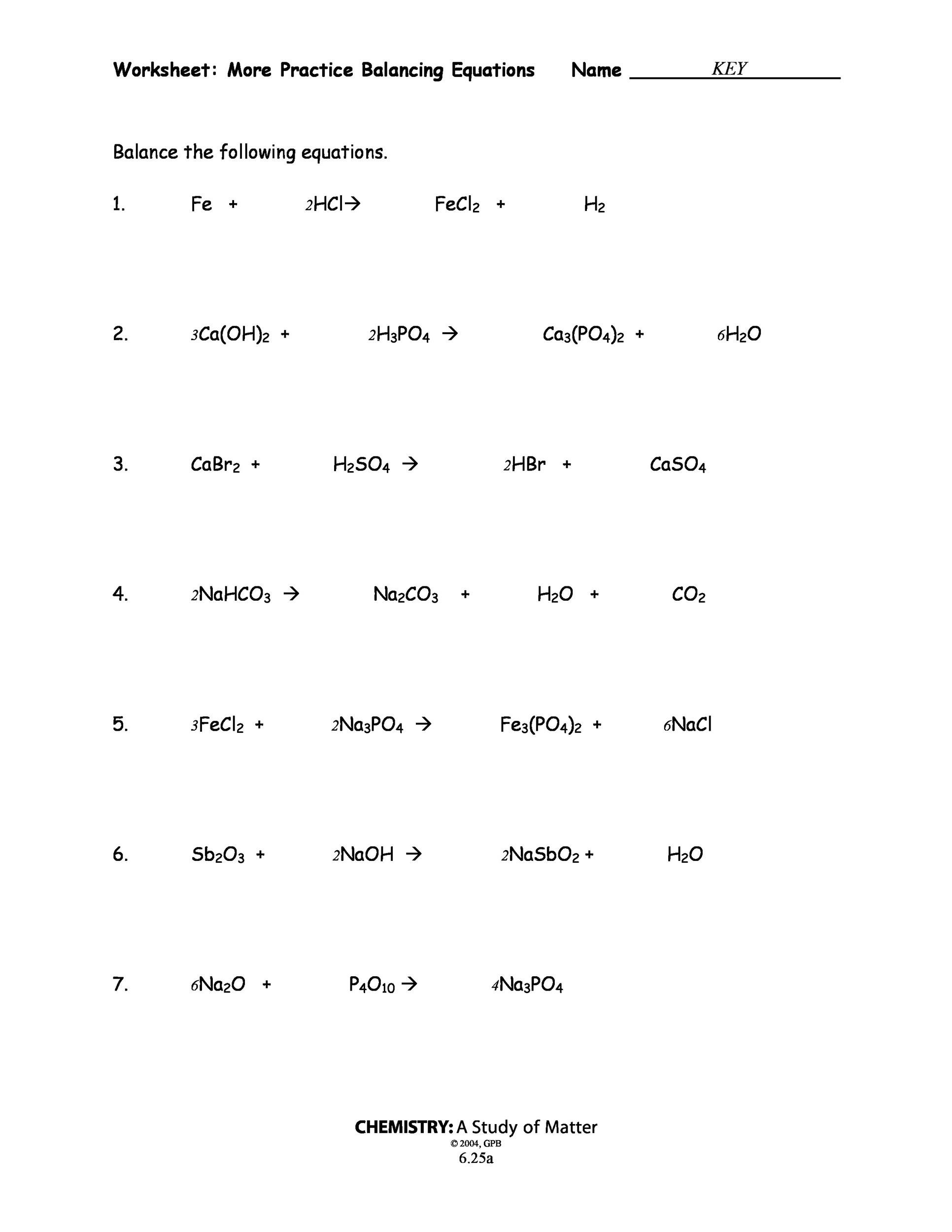 Practice Questions For Balancing Chemical Equations