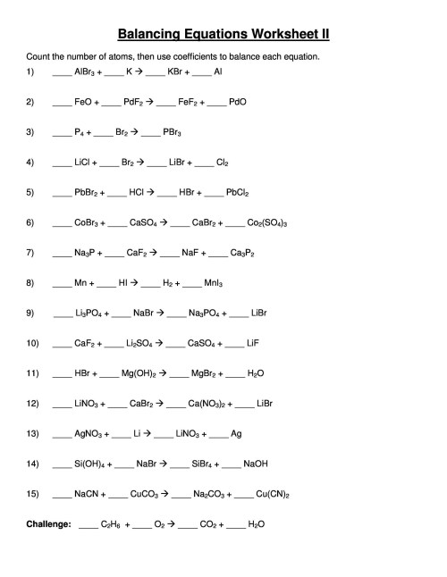 small resolution of 33 Worksheet Balancing Equations Answers - Worksheet Project List