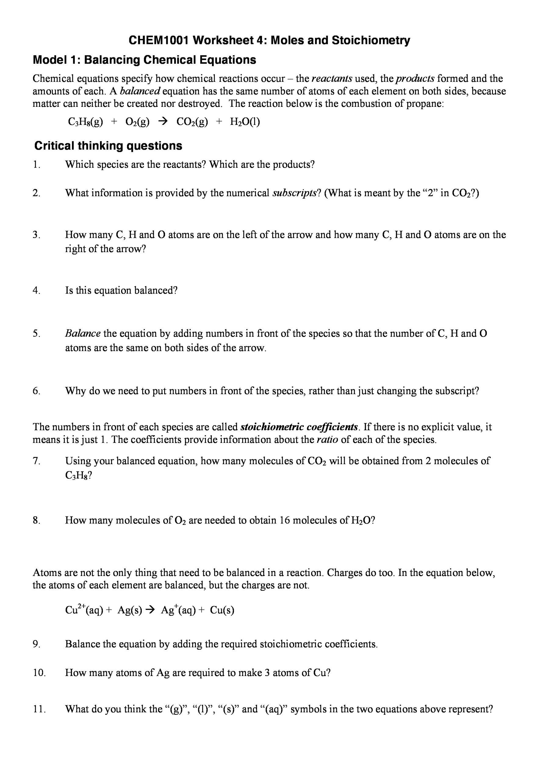 Types Of Reactions Chem Worksheet 10 3