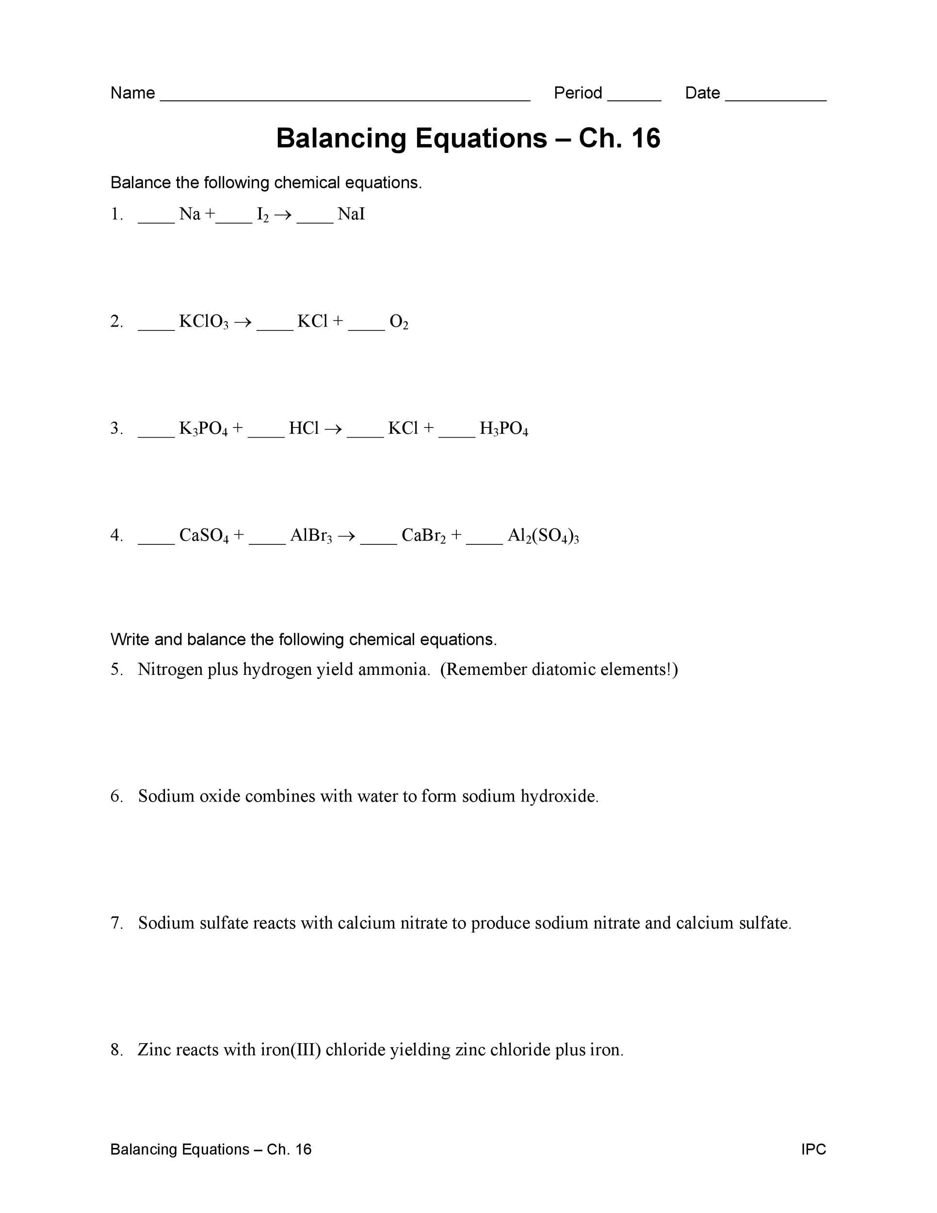 hight resolution of Balancing Chemical Equations Worksheet 7th Grade   Printable Worksheets and  Activities for Teachers