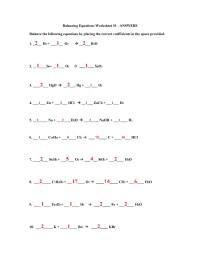 Worksheet 4 2 Balancing Chemical Equations Key - Kidz ...