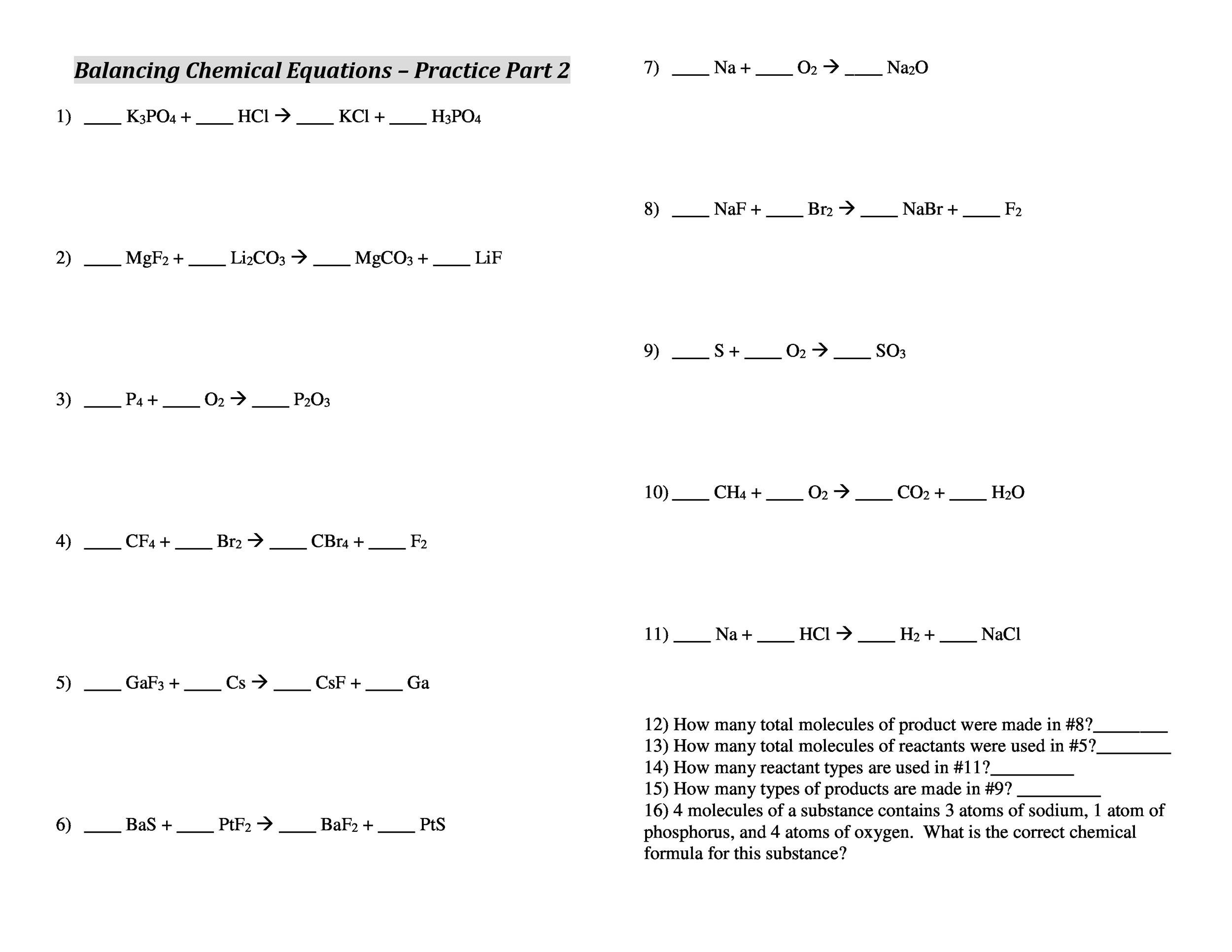 49 Balancing Chemical Equations Worksheets With Answers