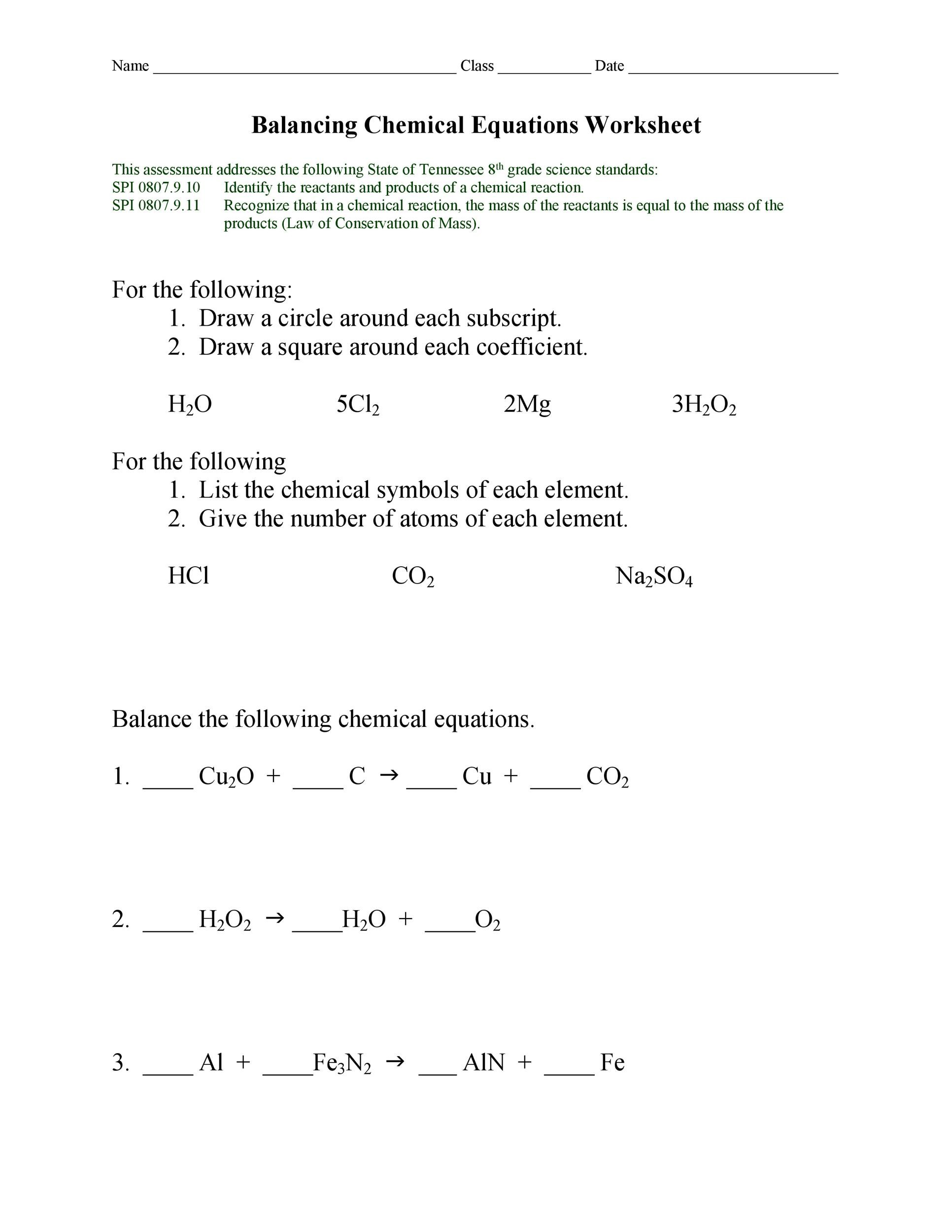 Balancing Chemical Equations Multiple Choice Test Doc