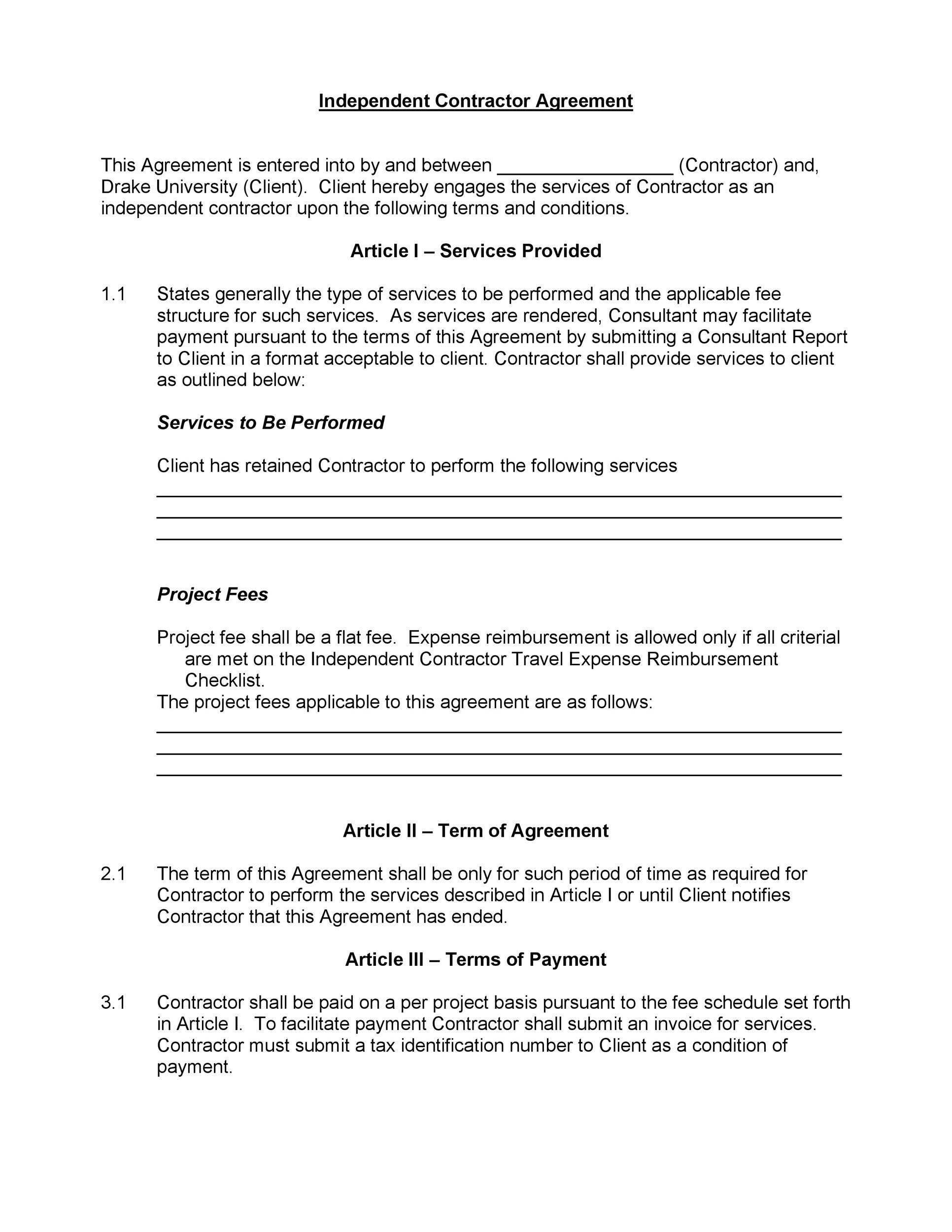This independent contractor agreement template is designed to help you draft a custom agreement that reflects your. 50 Free Independent Contractor Agreement Forms Templates