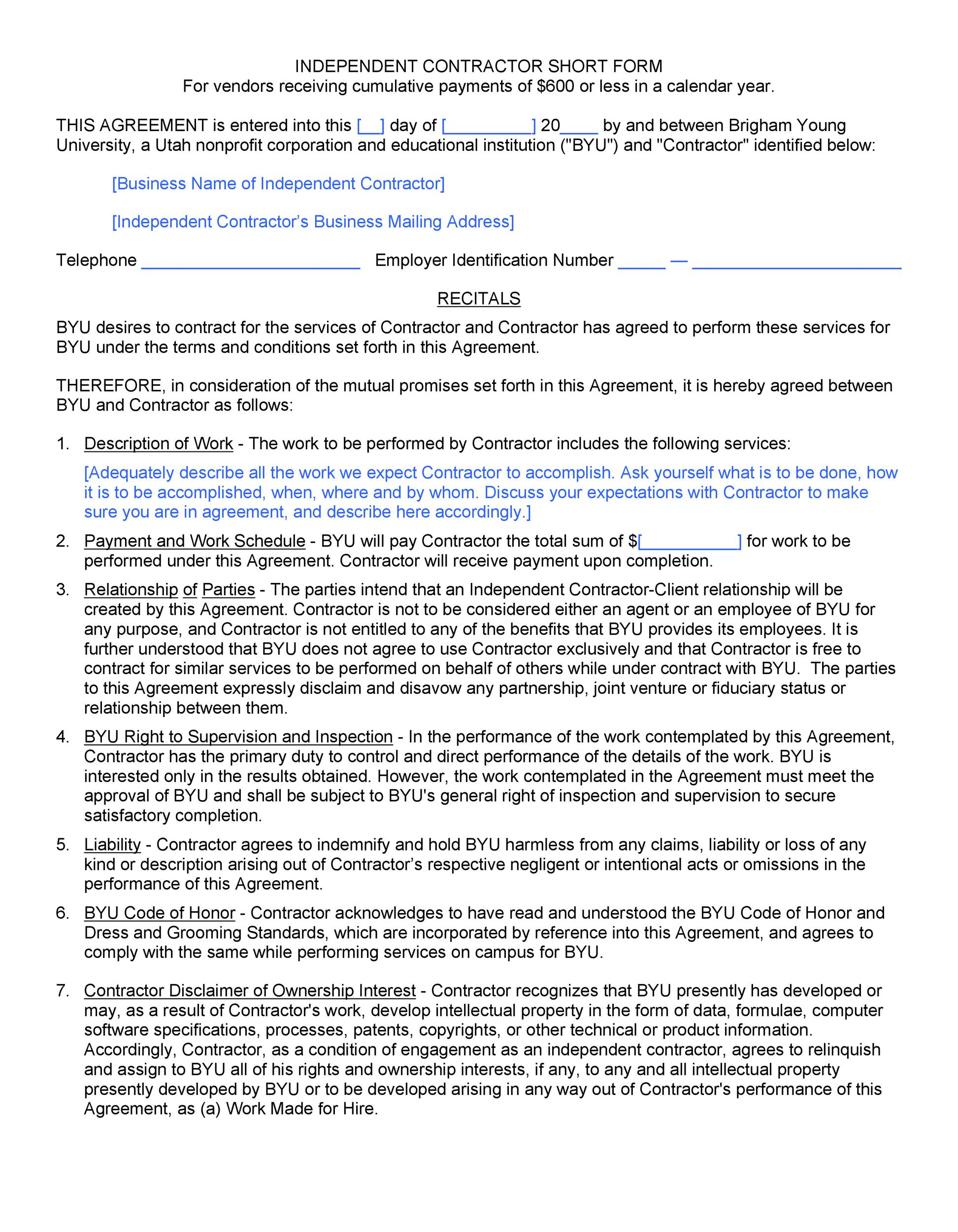 Free Independent Contractor Agreement 25